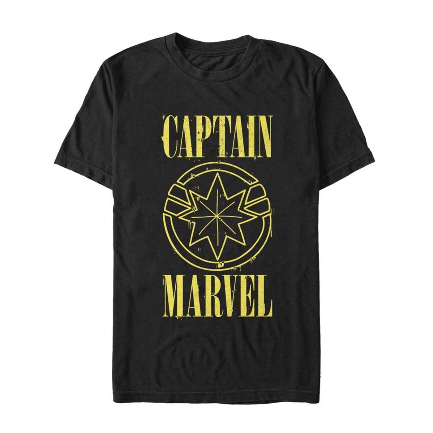 Captain Marvel Stained Star Symbol Men's T-Shirt