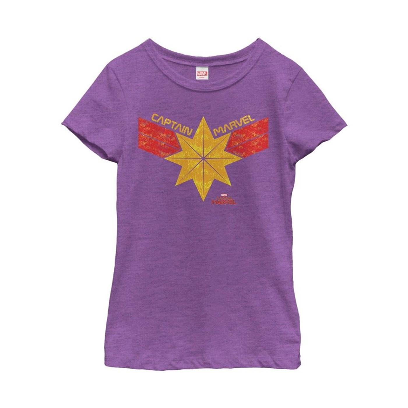 Captain Marvel Vintage Star Streak Costume Girl's T-Shirt