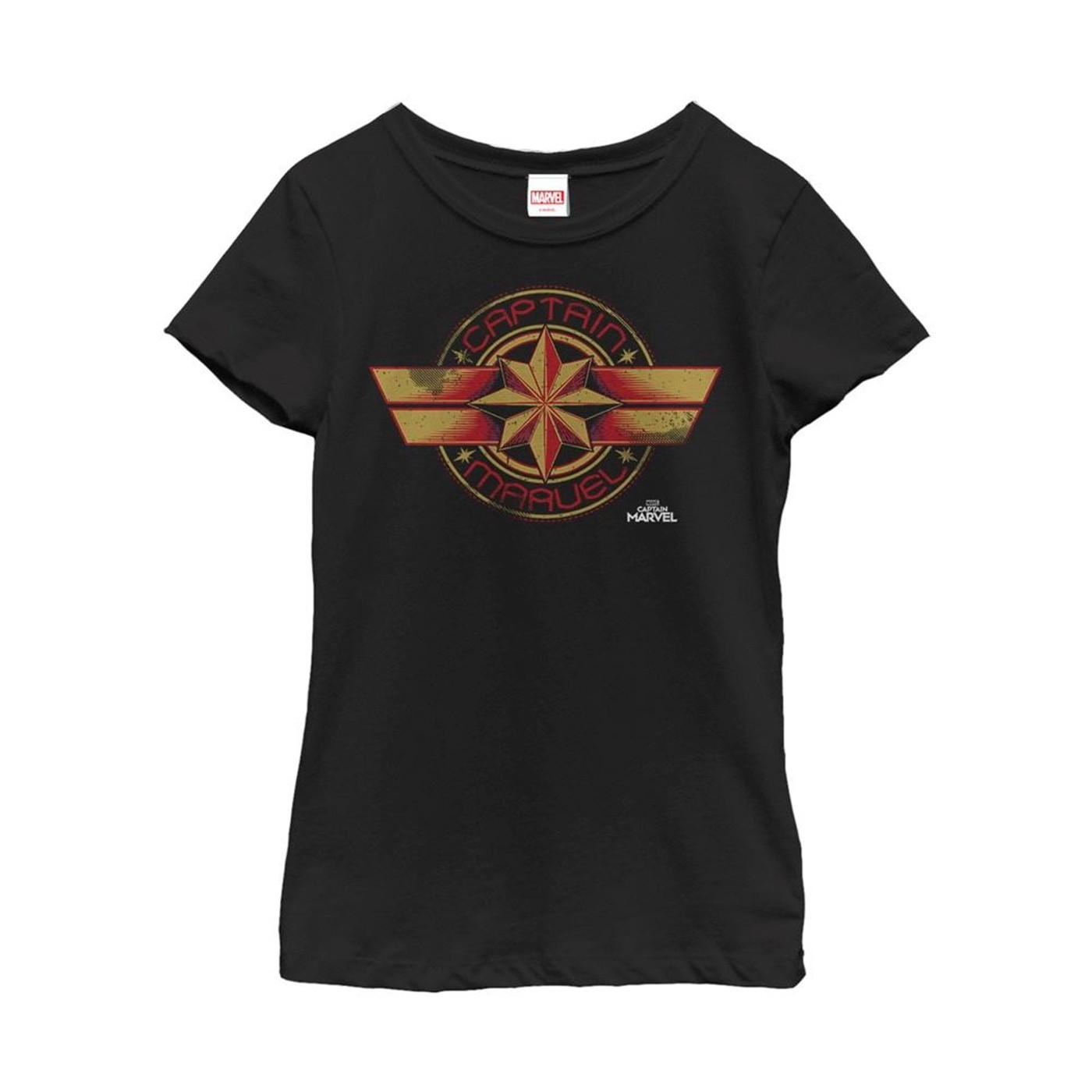 Captain Marvel Retro Star Emblem Girl's T-Shirt