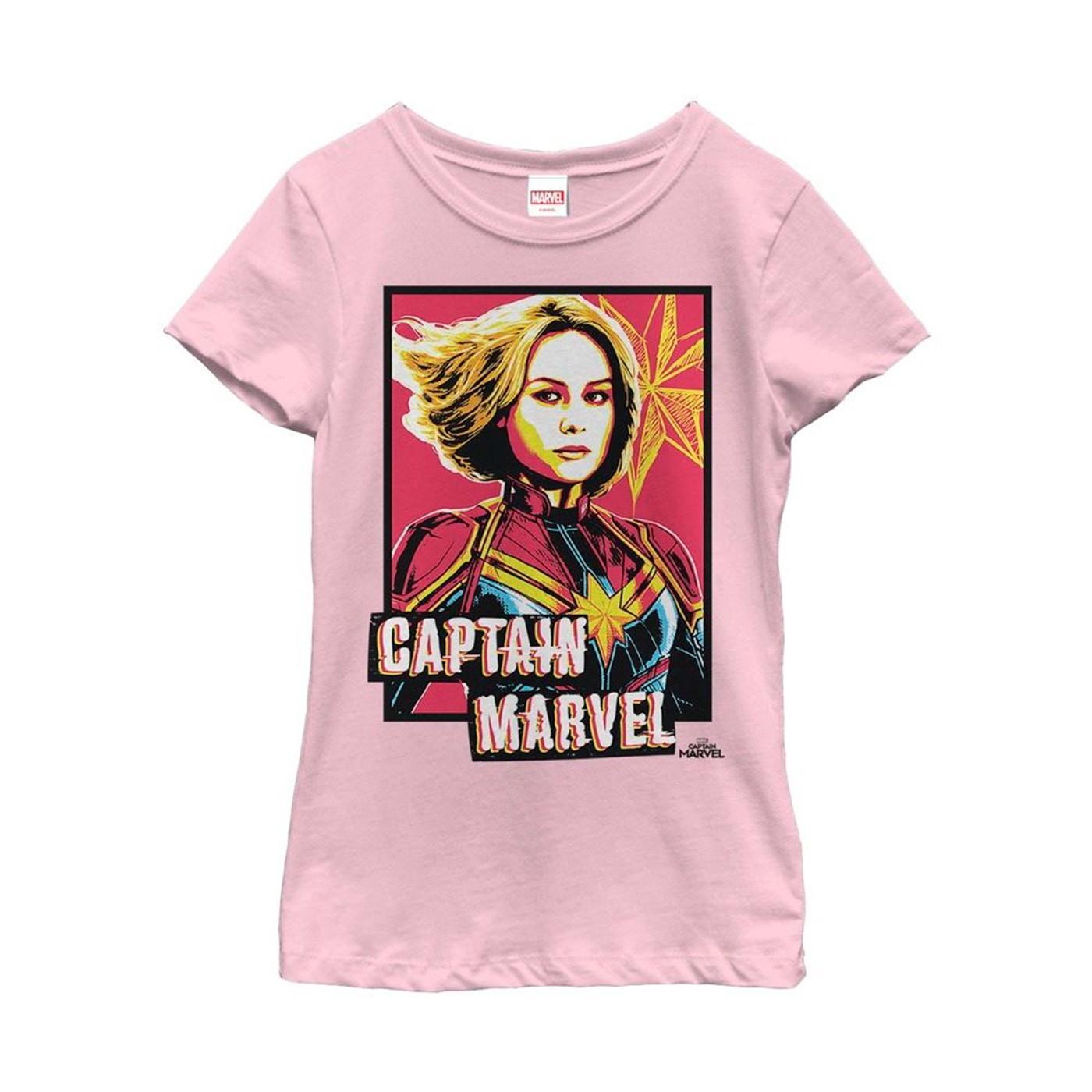 Captain Marvel Artistic Portrait Girl's T-Shirt