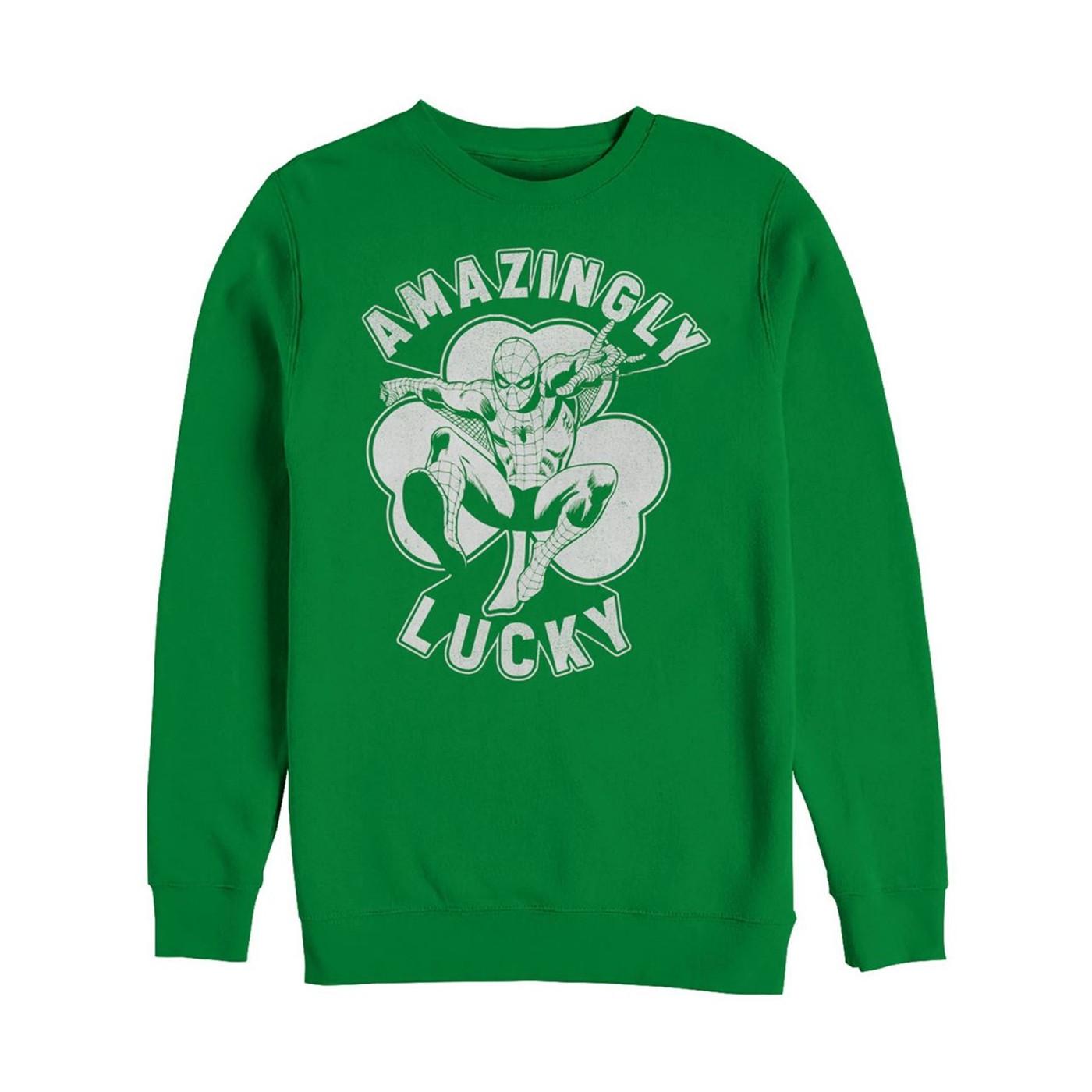 Spider-Man Amazingly Lucky St Patrick's Day Crewneck Sweatshirt