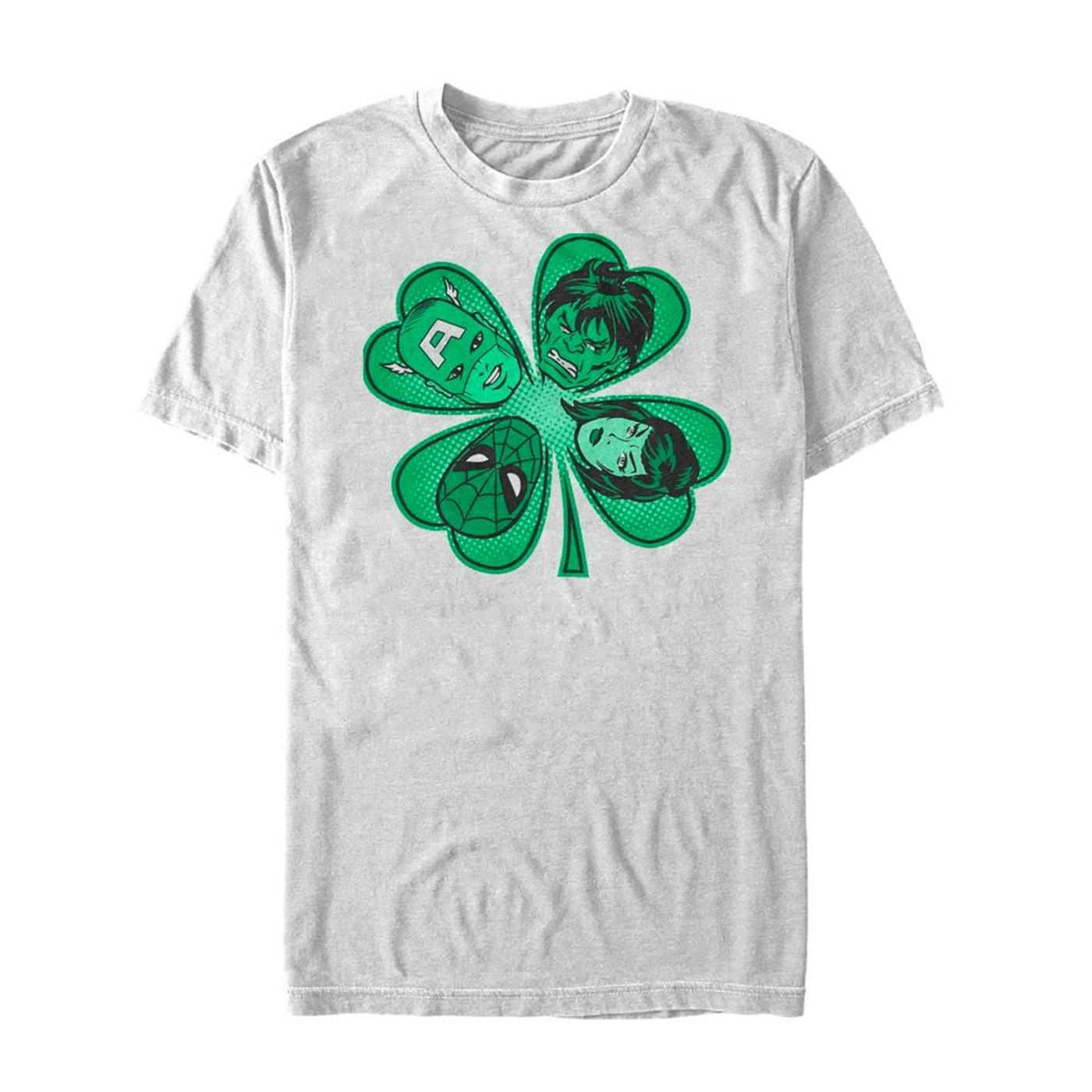 Avengers Shamrock St Patrick's Day White T-Shirt