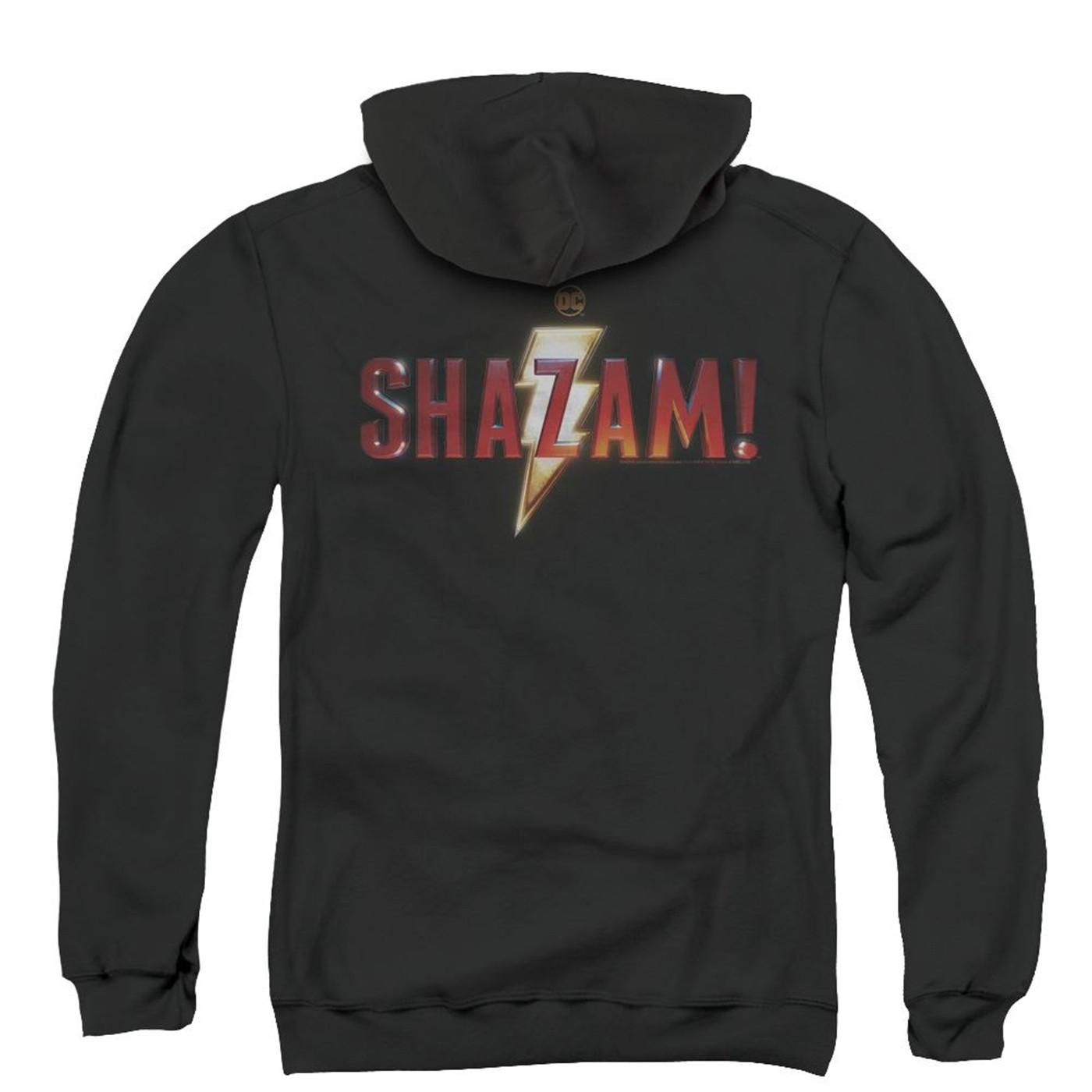 Shazam Movie Logo (Back Print) Zip Up Hoodie