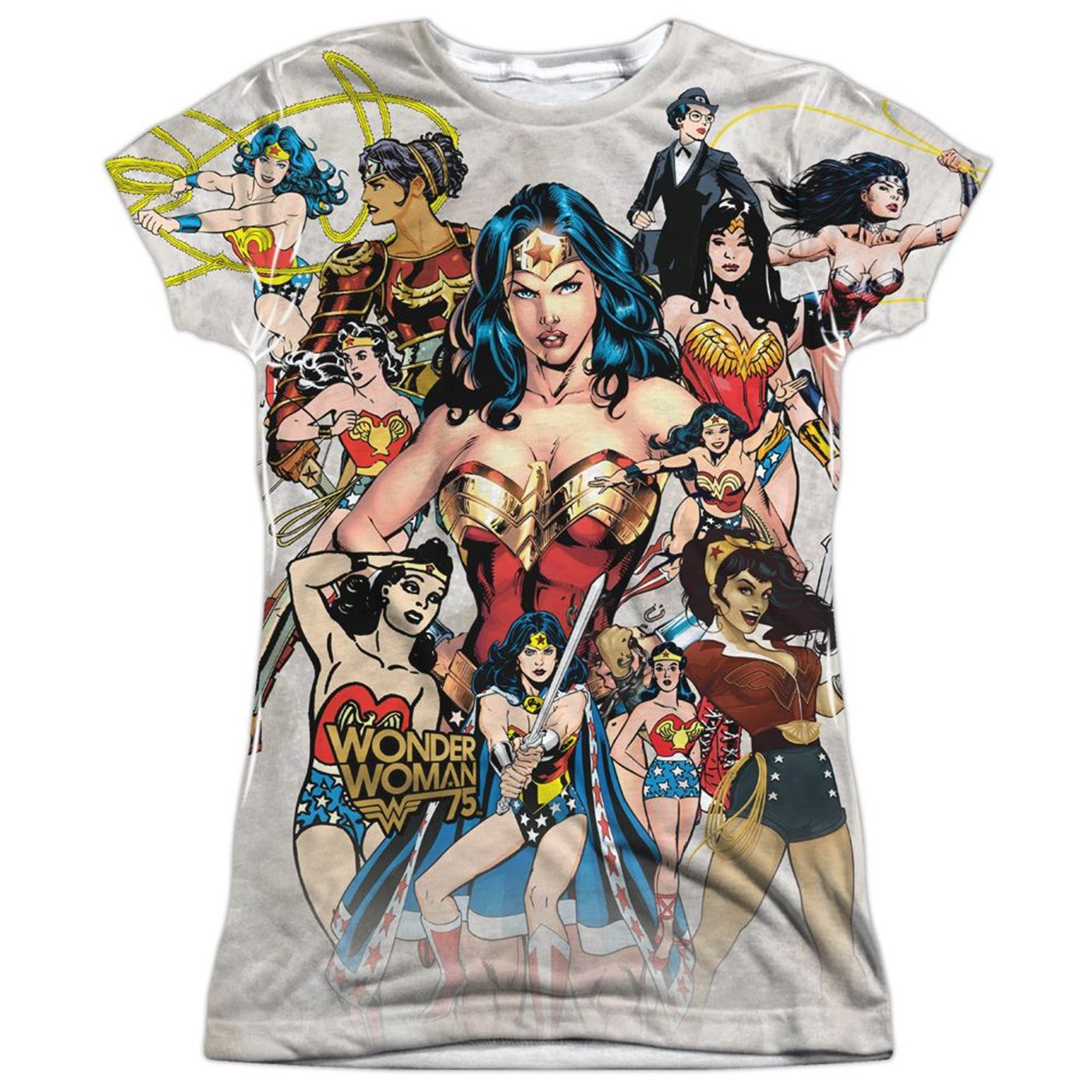 Wonder Woman 75th Collage Junior's Sublimated Front and Back T-Shirt