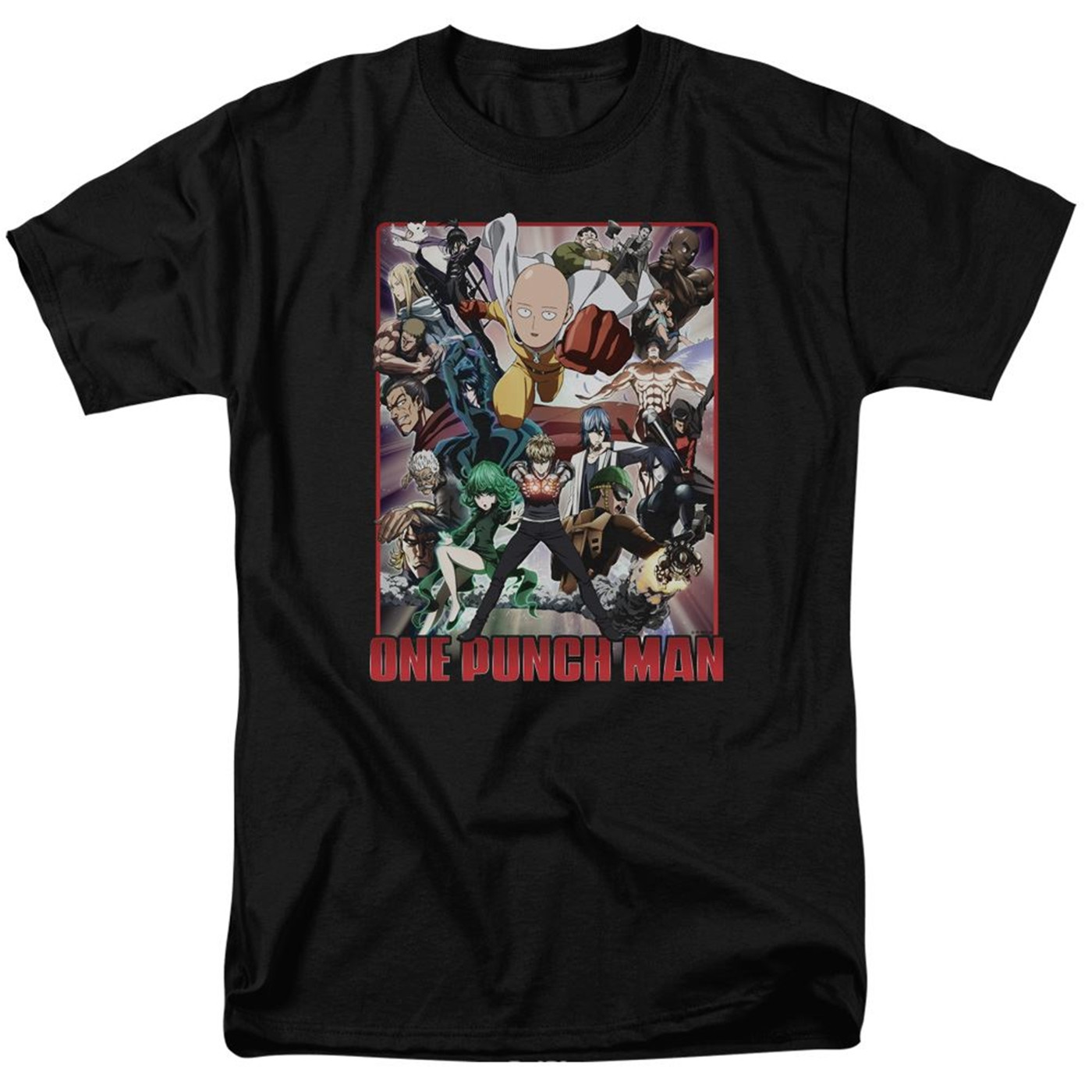 One Punch Man Cast of Characters Men's Black T-Shirt