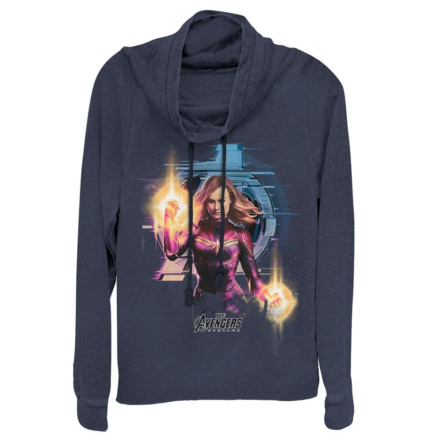 Avengers Endgame Captain Marvel Women's Cowl Neck Sweater