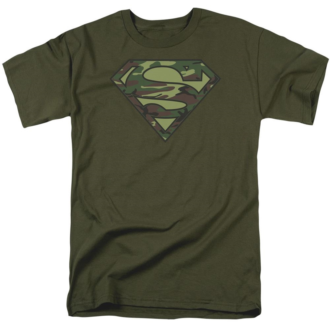 Superman Camo Symbol on Military Green Men's T-Shirt