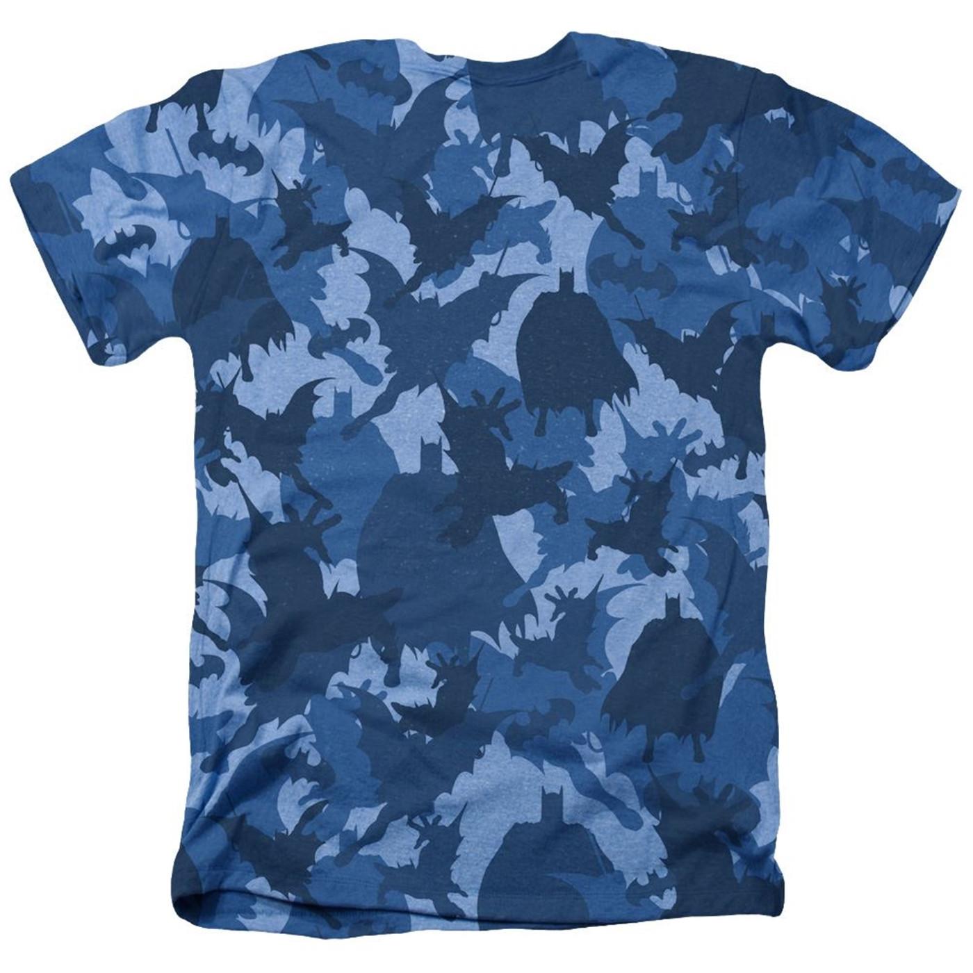 Batman Symbol All Over Blue Camo Men's T-Shirt