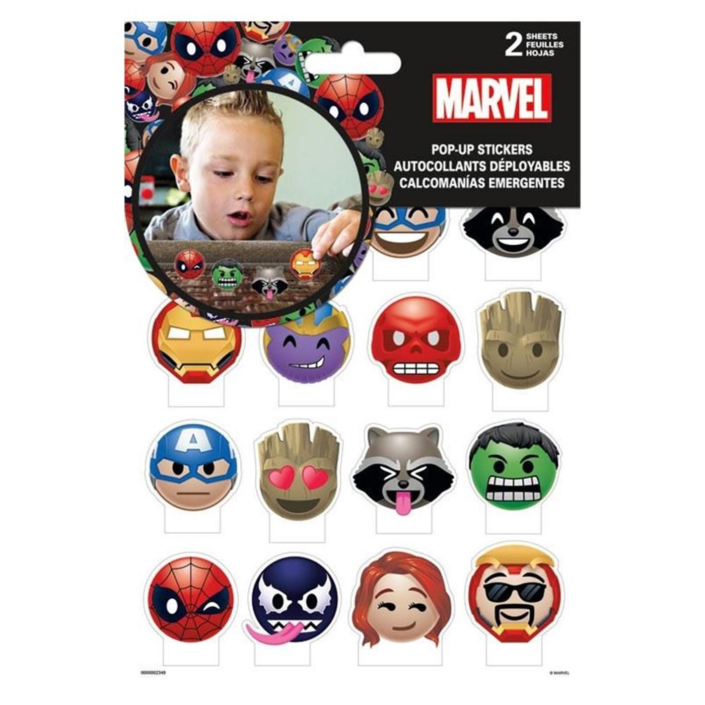 Marvel Emoji Pop Up Stickers - 2-Sheets