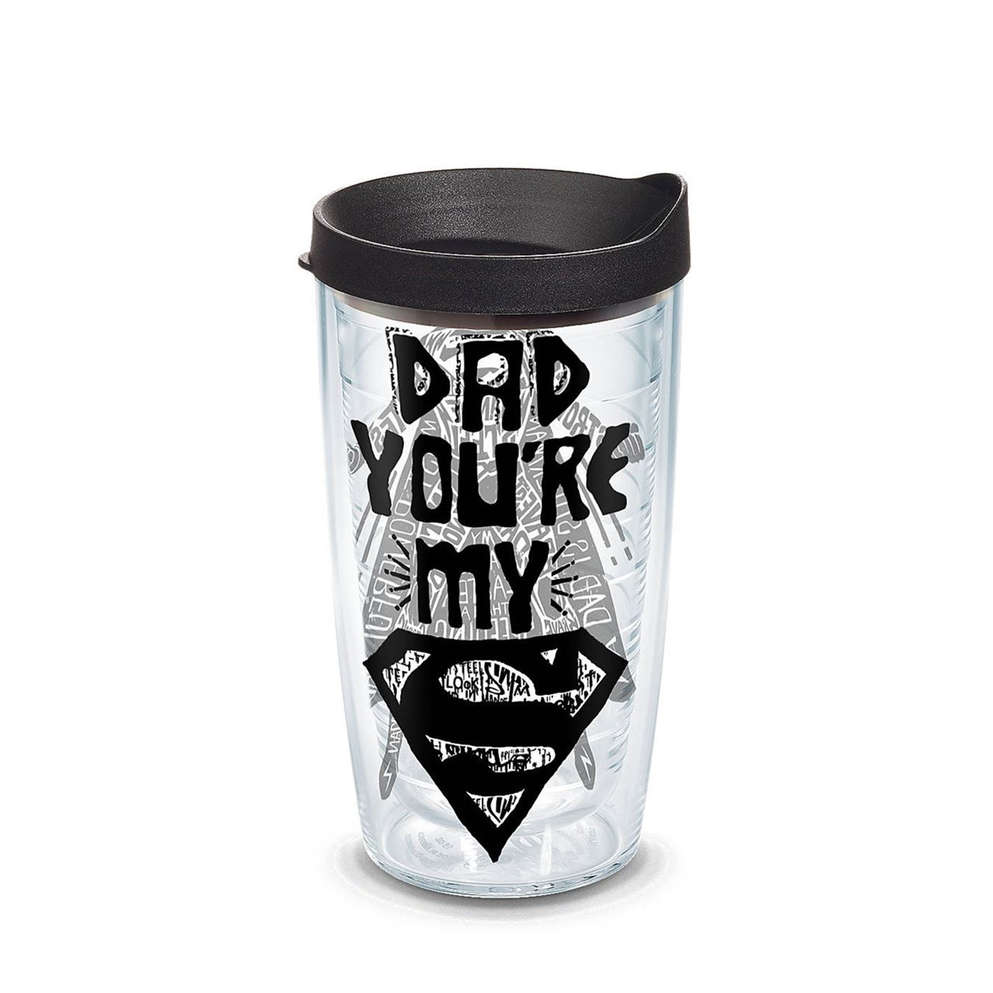 Superman Dad Wrap Tumbler With Lid 16 oz Tervis