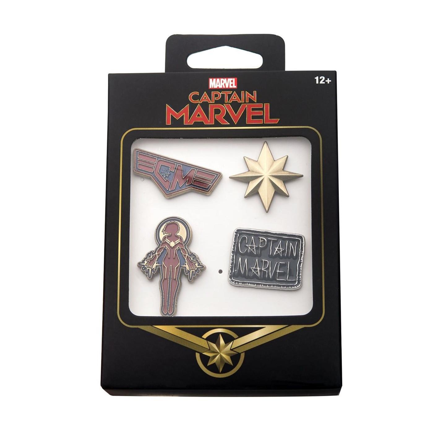 Captain Marvel Enamel Pin 4-Piece Set