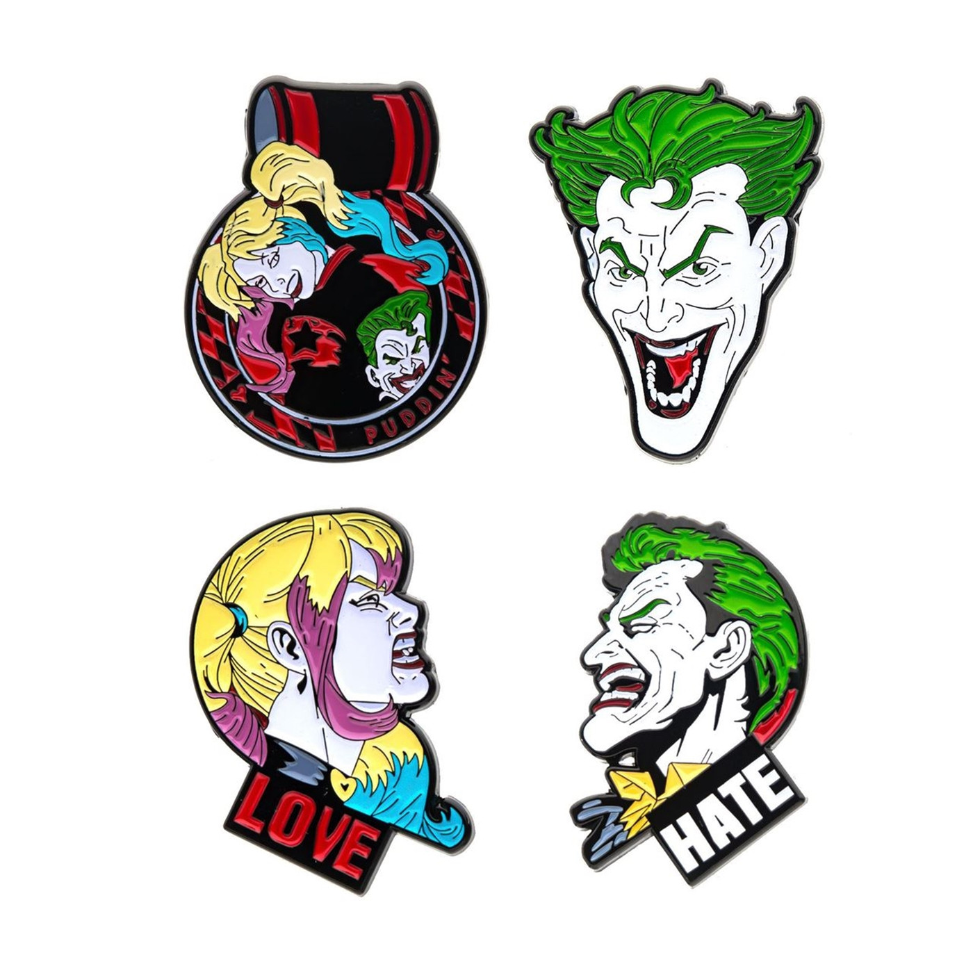 Joker and Harley Quinn Face 4-Piece Enamel Pin Set
