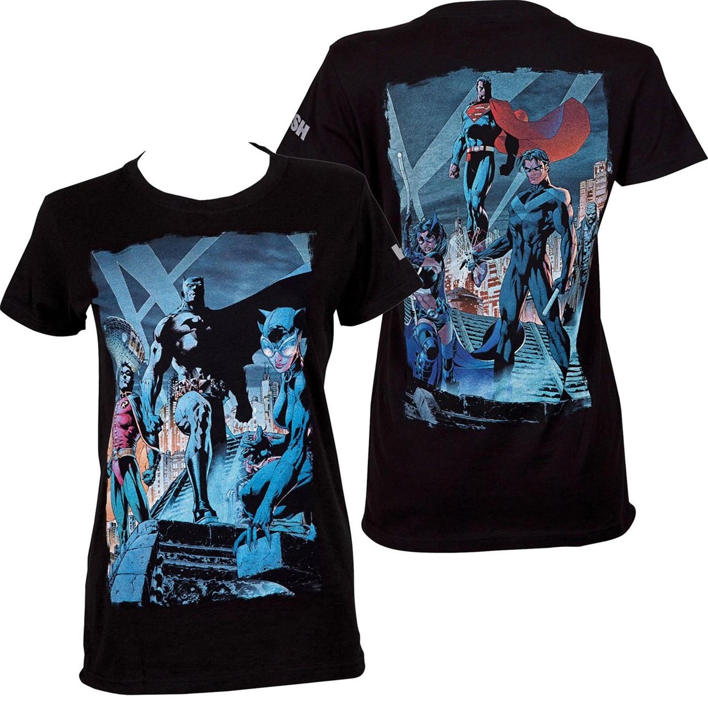 Batman Hush Comic Rooftop Meeting Image Women's T-Shirt