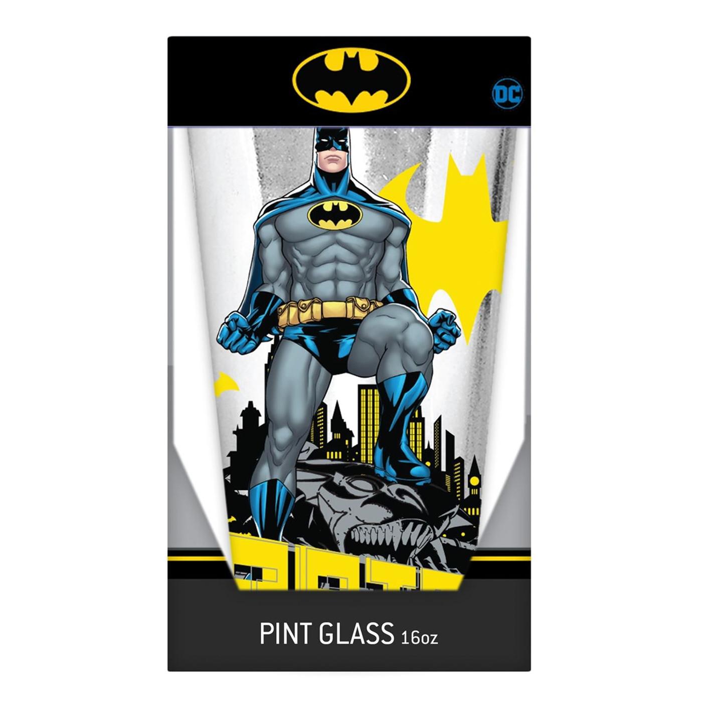 Batman Stance Logos 16oz Pint Glass