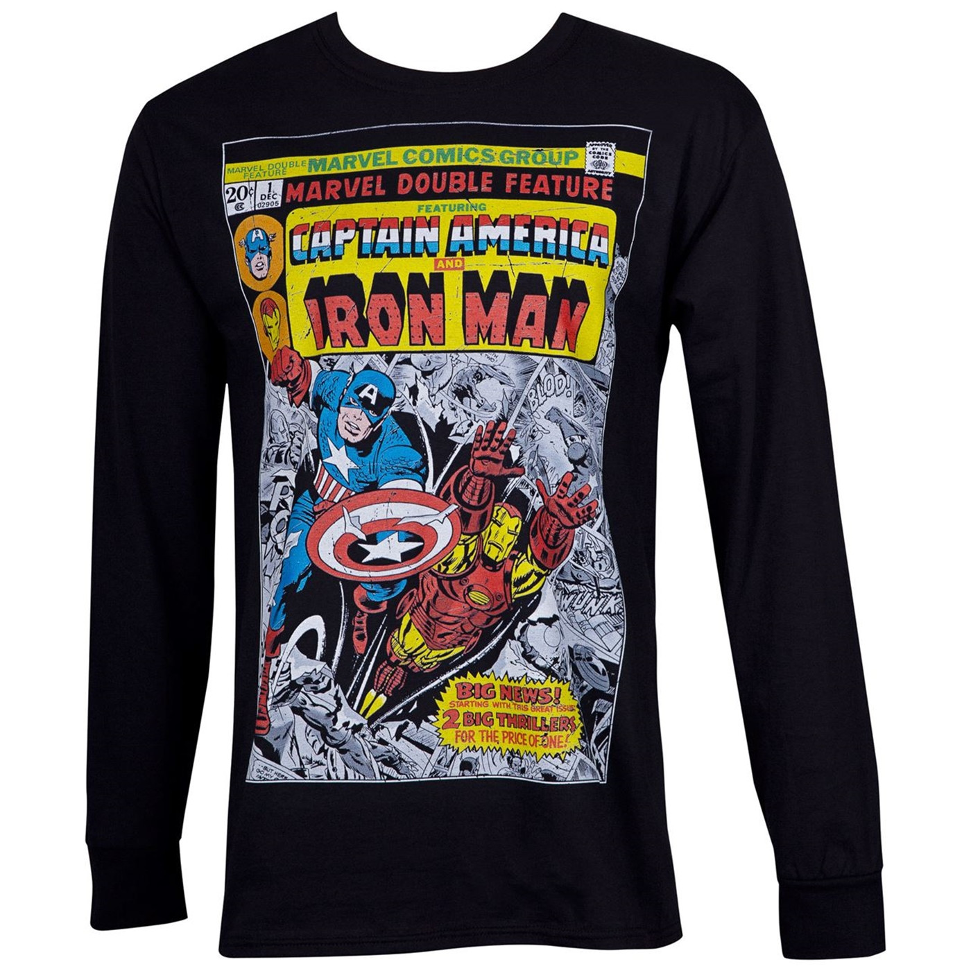 Captain America and Iron Man Double Feature Comic Black Long Sleeve Shirt