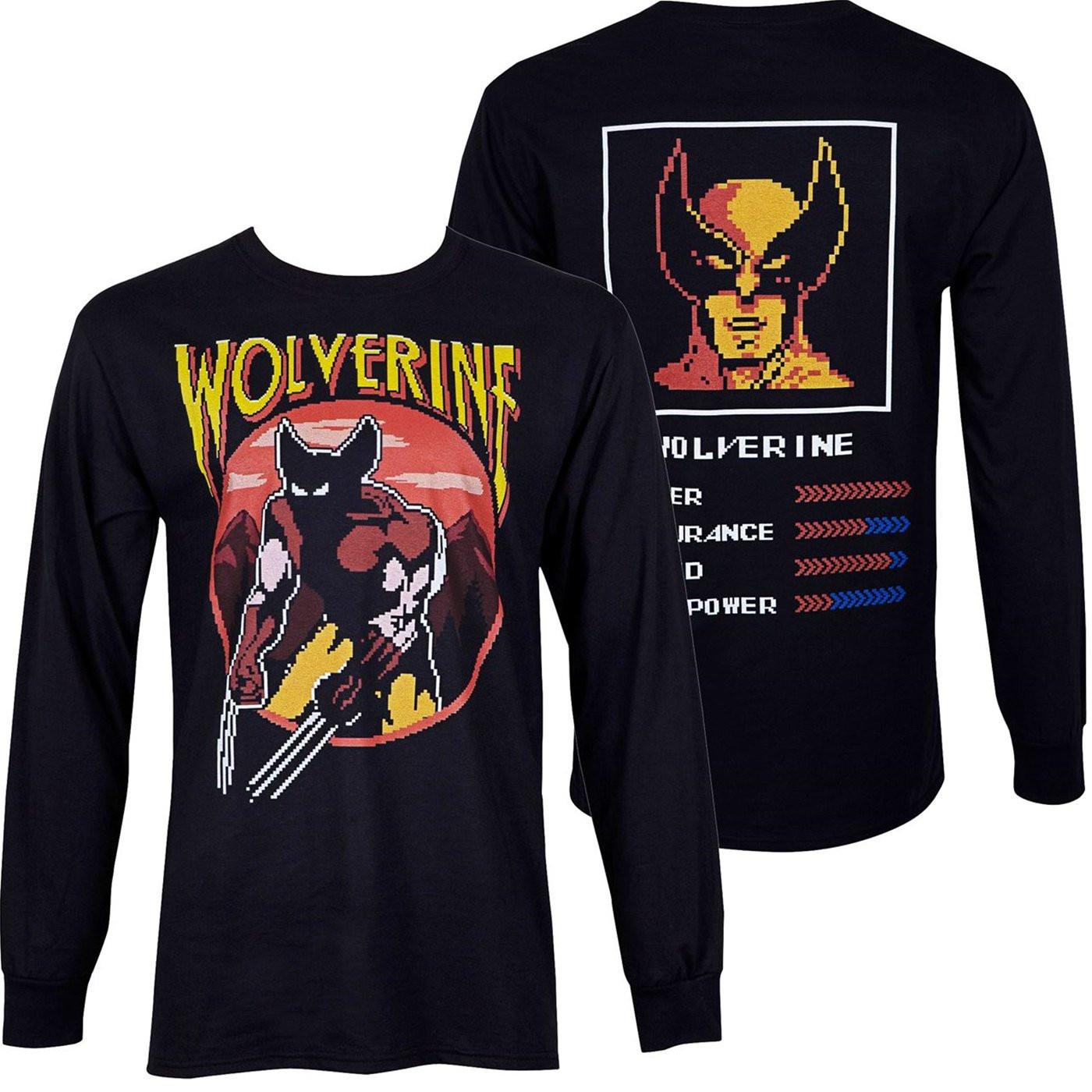 Wolverine Character Arcade Stats Black Long Sleeve Shirt