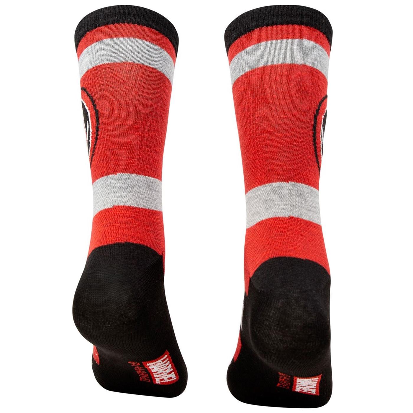 Deadpool Costume and Symbols Men's 2-Pack Crew Socks