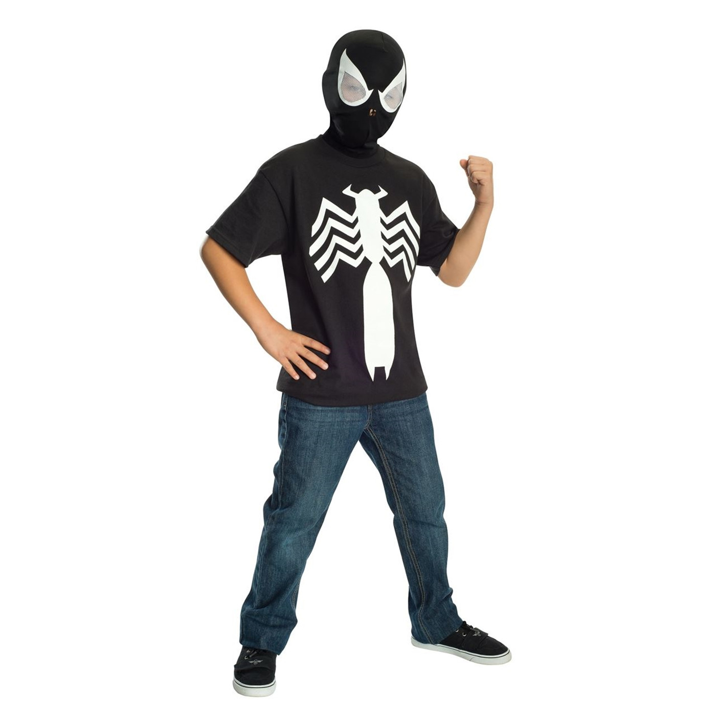 Spider-Man Black Costume Youth T-Shirt with Mask