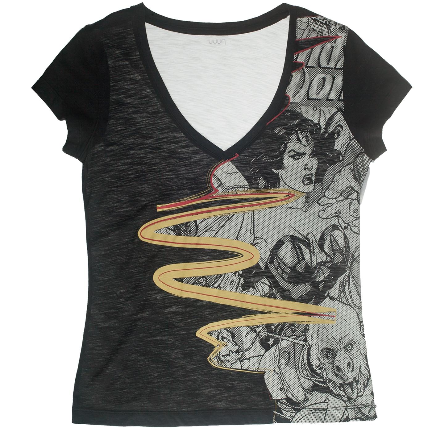 Wonder Woman Vintage Comic Book Cover Black T-Shirt