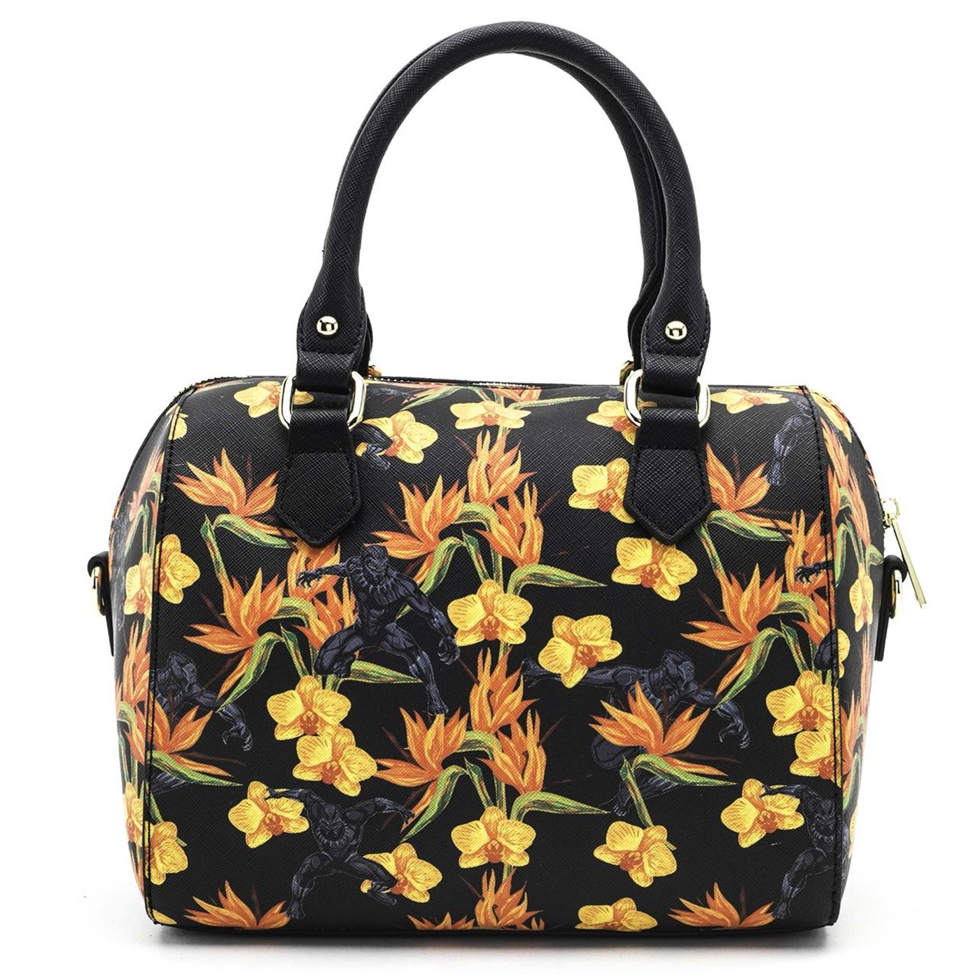 Black Panther Floral Cross Body Duffle Bag