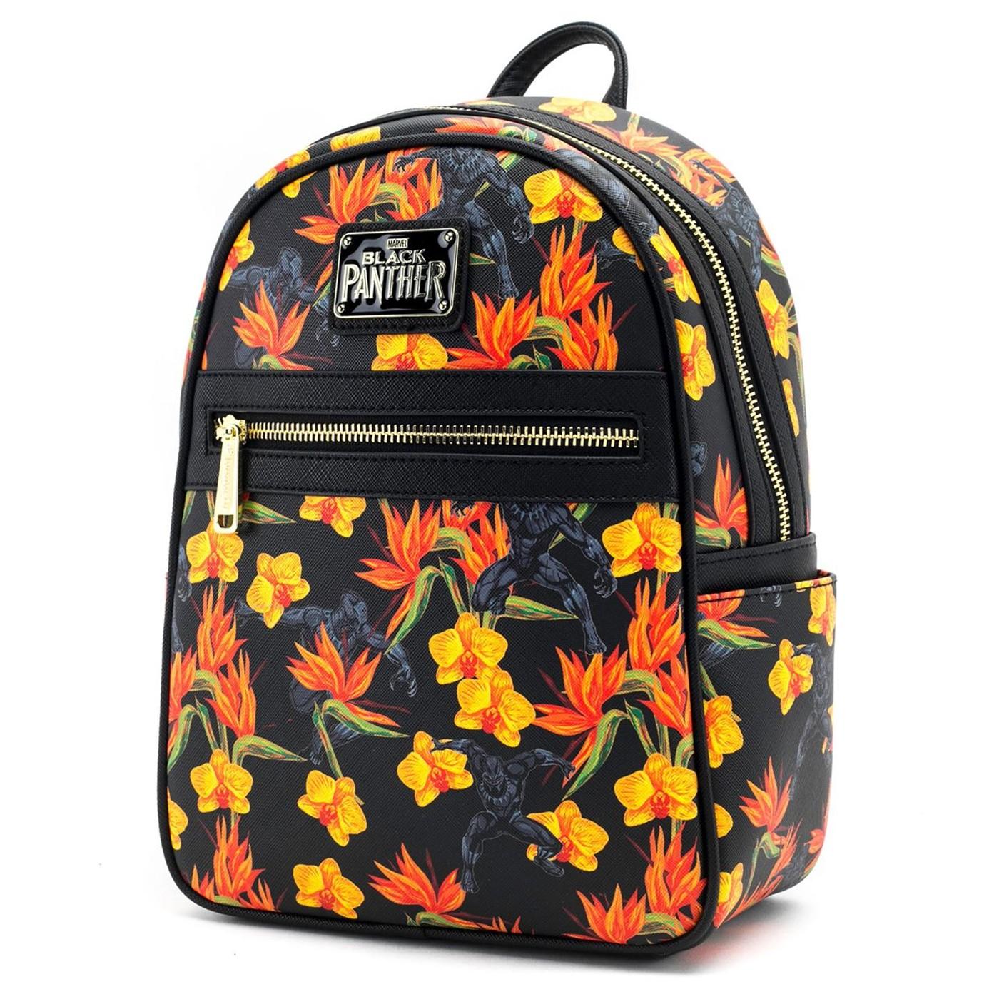 Black Panther Floral Mini Backpack