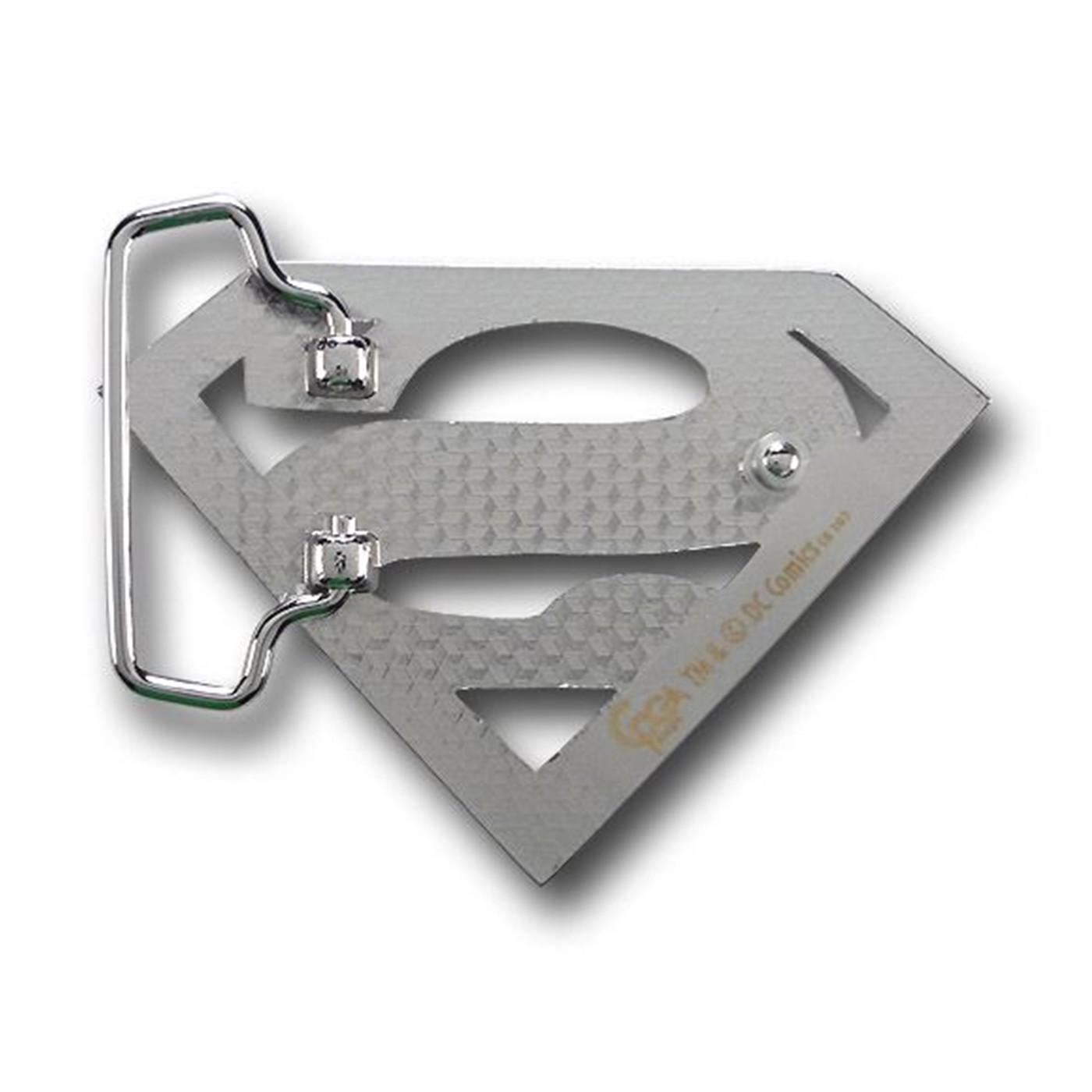 Superman Belt Buckle Chrome Symbol