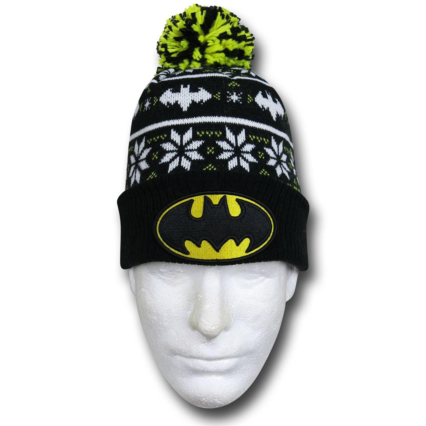 Batman Symbol Knit Pom Pom Beanie