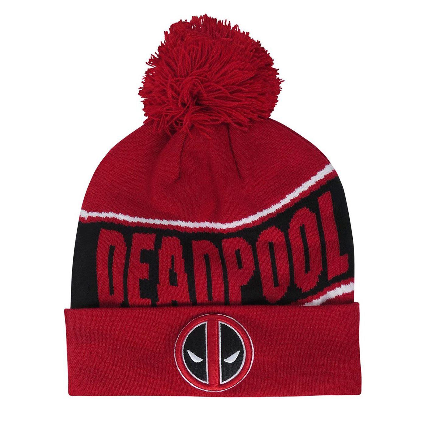 Deadpool Fleece Lined Pom Pom Beanie