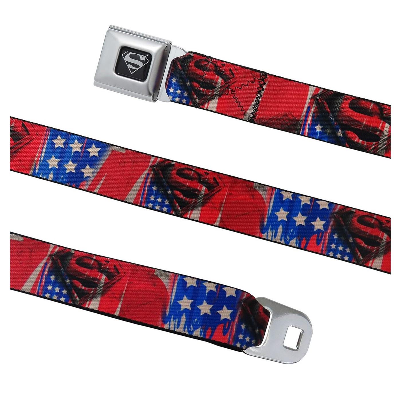 Superman Shield Stars & Stripes Seatbelt Belt