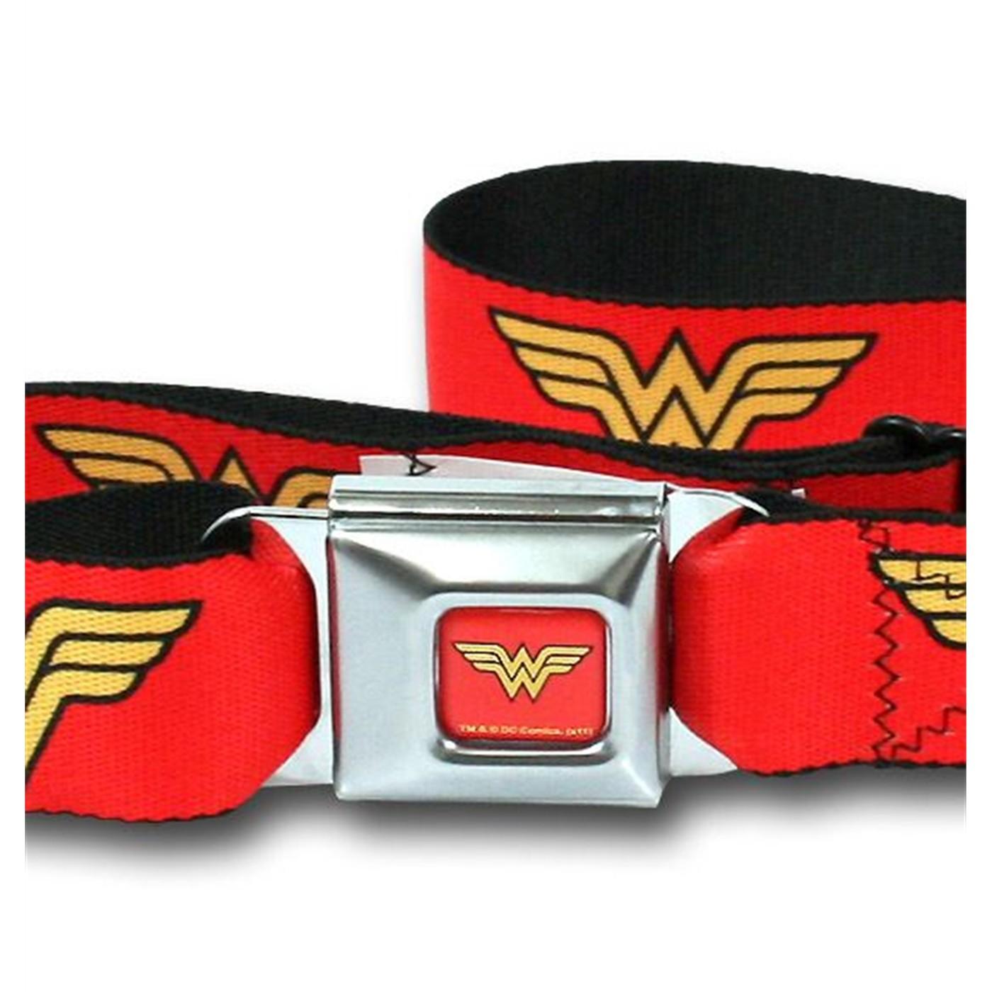 Wonder Woman Symbol Webbed Seatbelt Belt