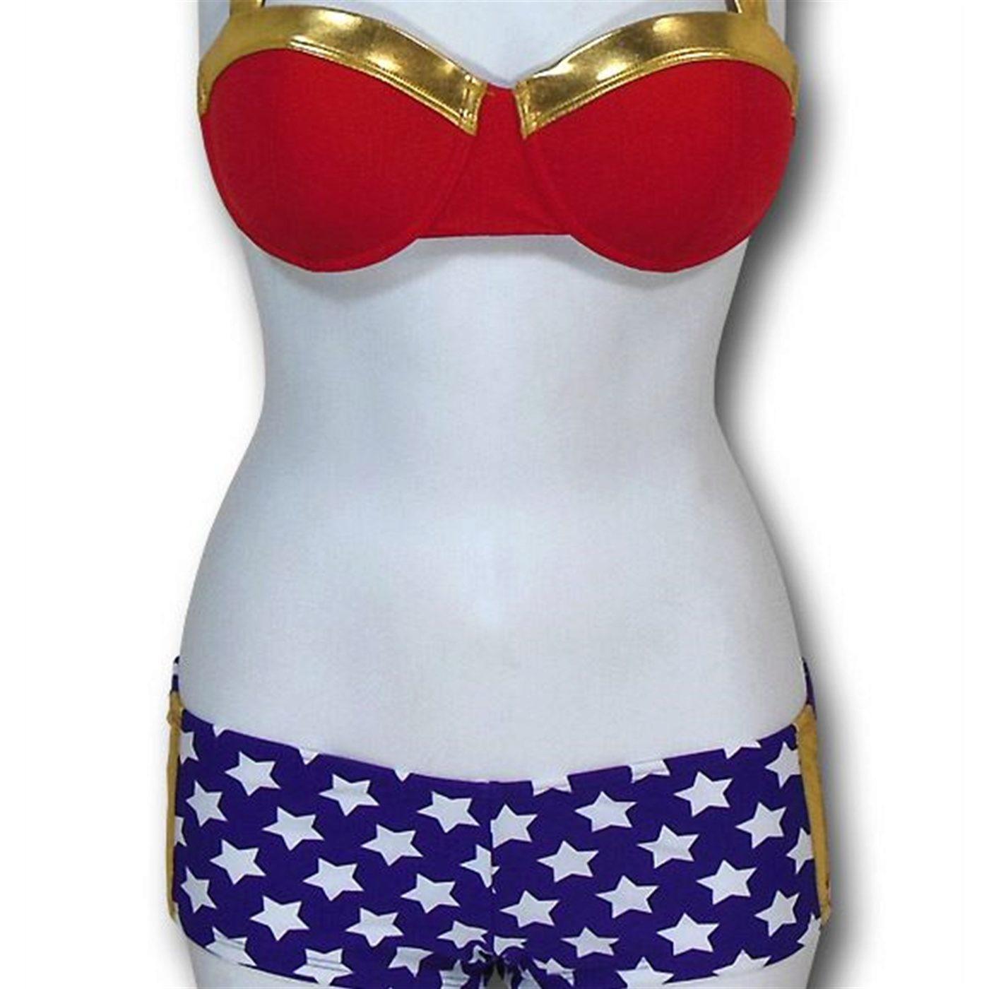 Wonder Woman Bandeau Bikini Women's Swimsuit