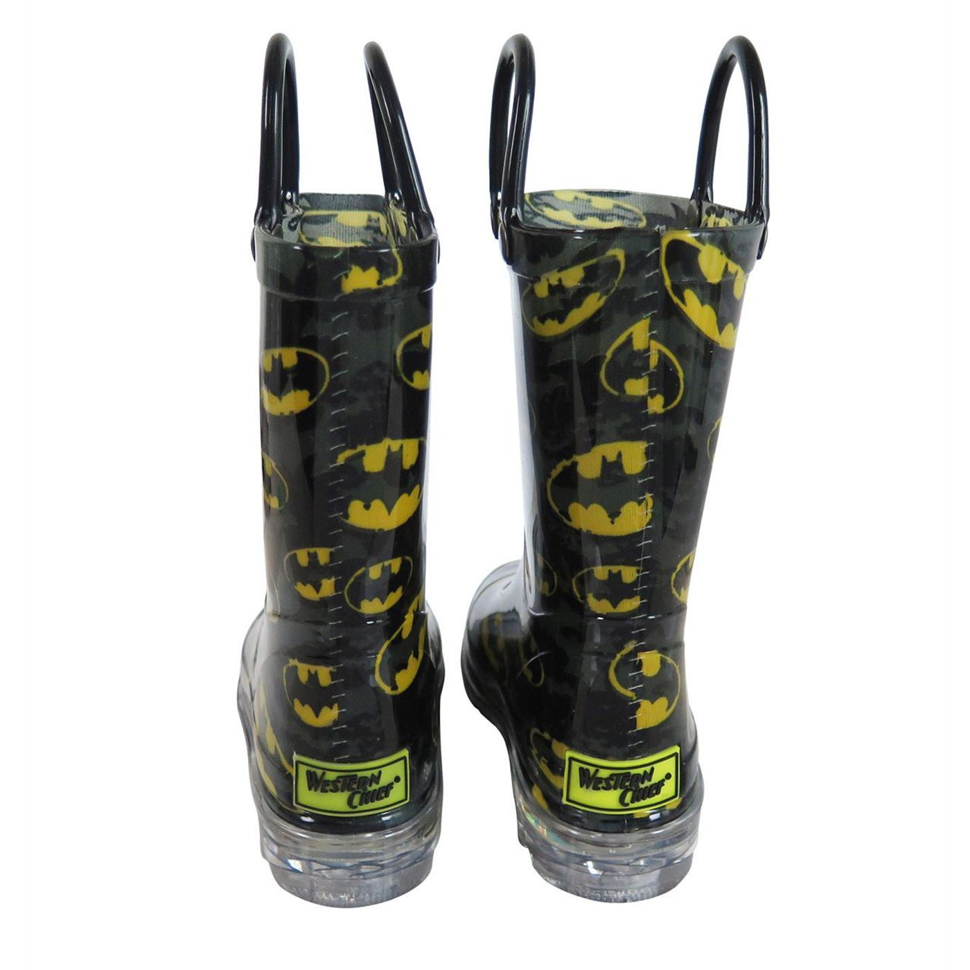 Batman Bat Signal Night Lighted Kids Rain Boots