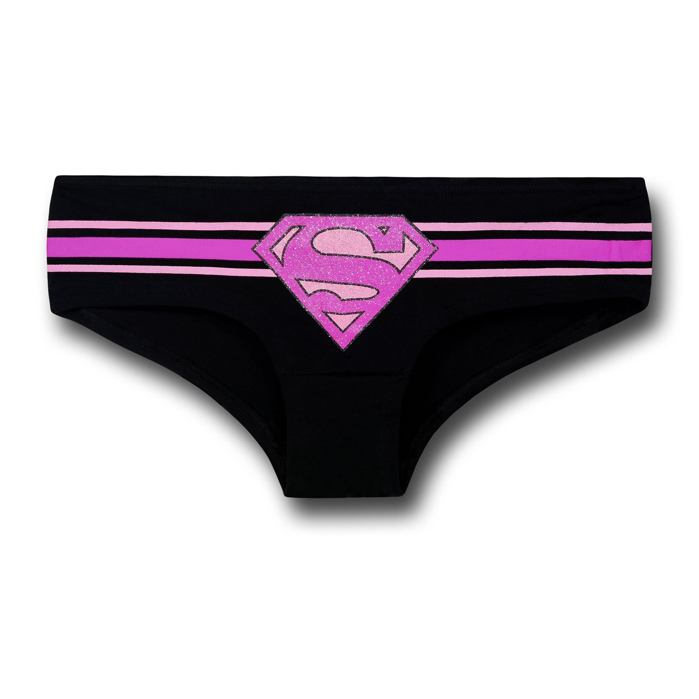 Supergirl Pink and Black Striped Women's Hipster Briefs