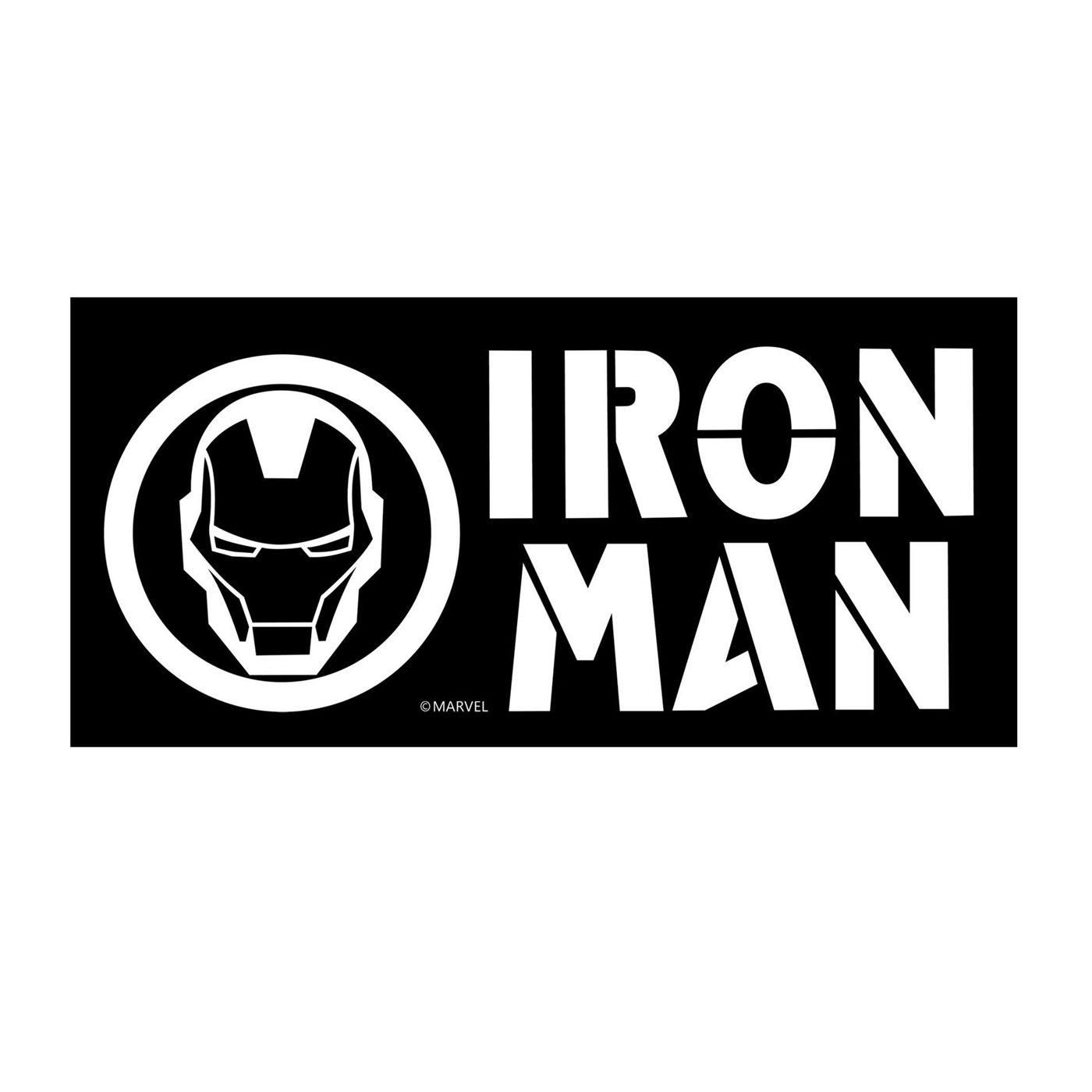 Iron Man Text & Symbol White Decal