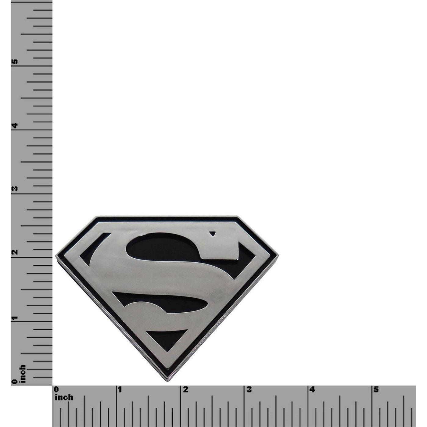 Superman Chrome and Black Symbol Car Emblem