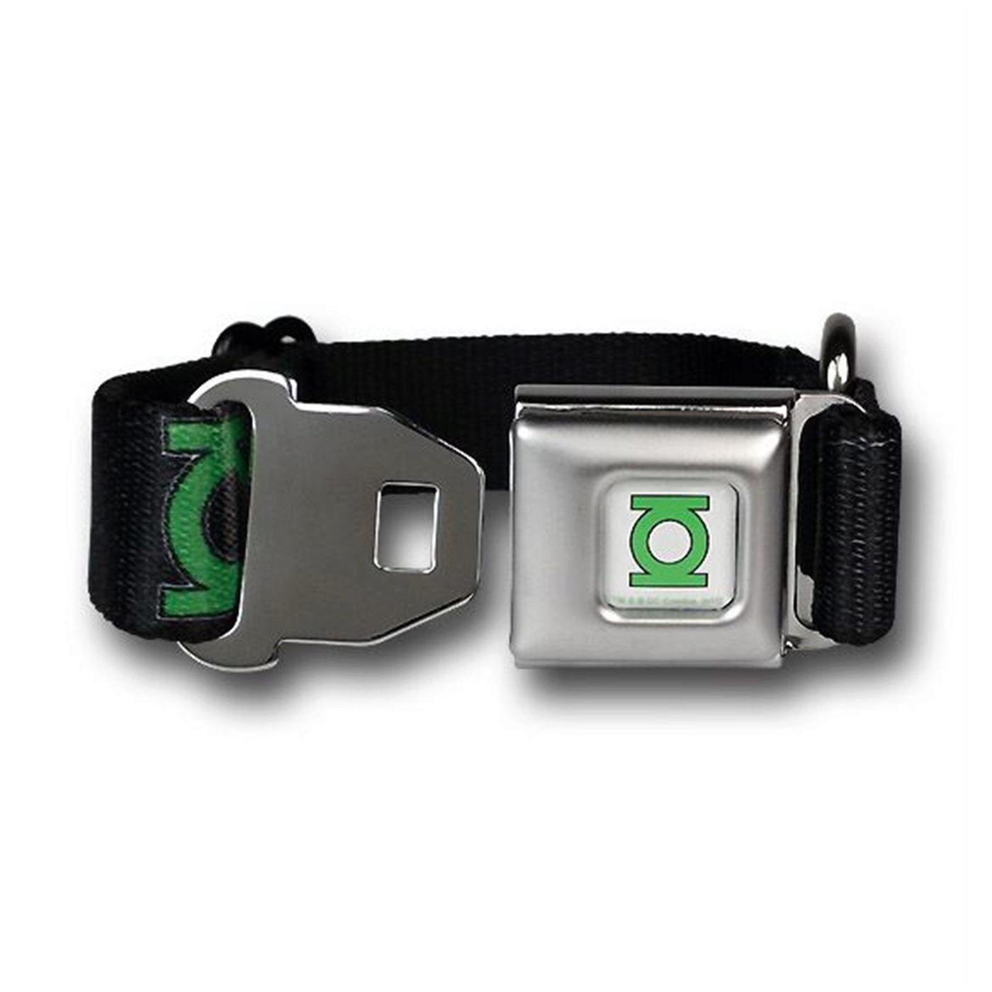 Green Lantern Symbols Black Dog Collar