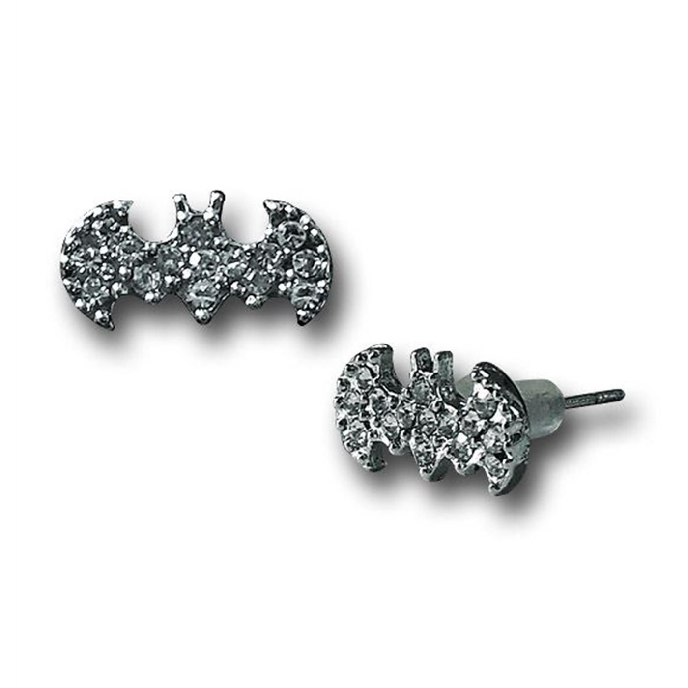 Batman Symbol Bling Stud Earrings
