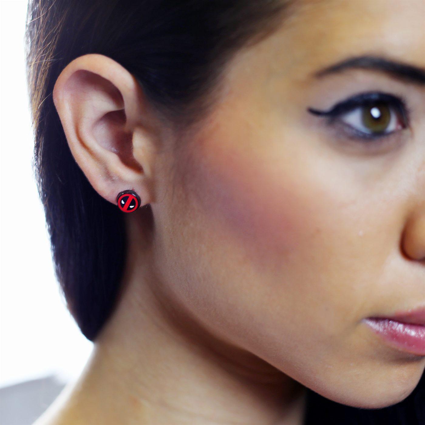 Deadpool Symbol Stud Earrings