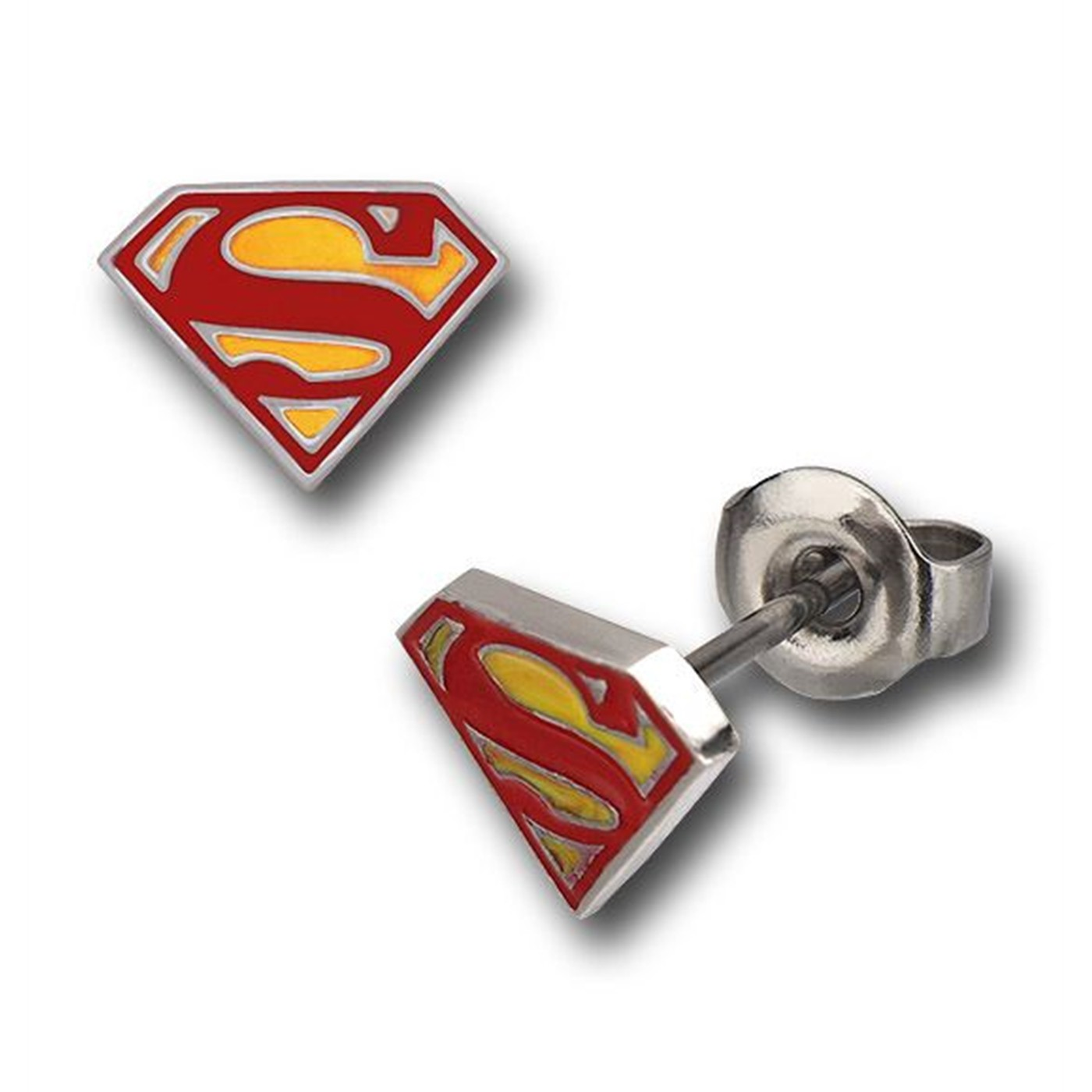 Superman Yellow and Red Epoxy Symbol Stud Earrings