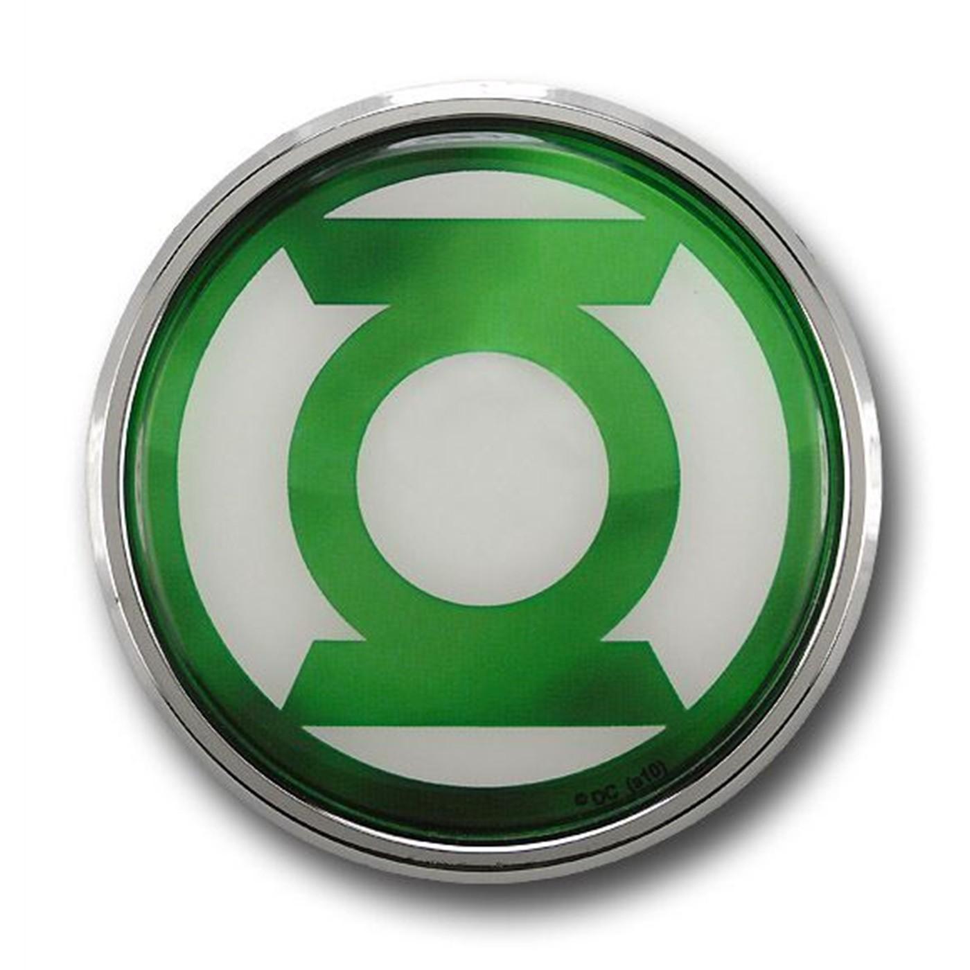 Green Lantern Green Chrome Logo Adult Work Shirt