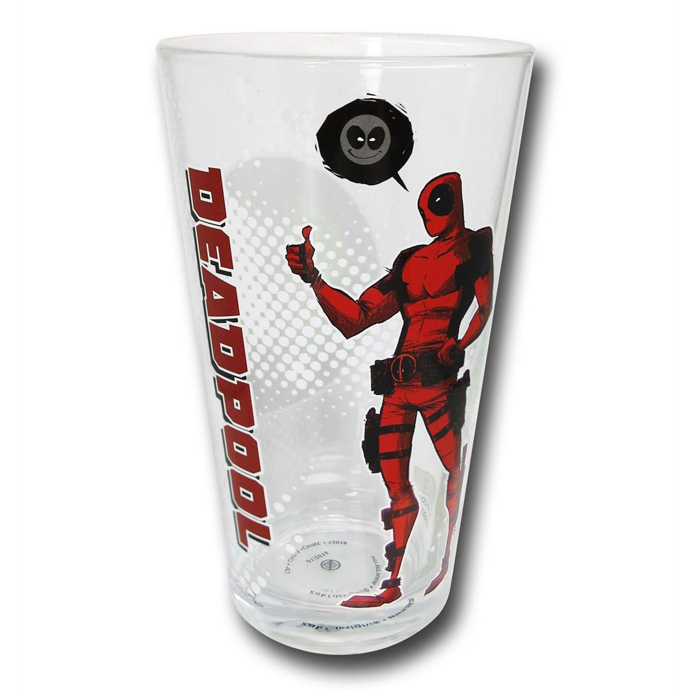 Deadpool Image and Symbols Pint Glass Set of 4
