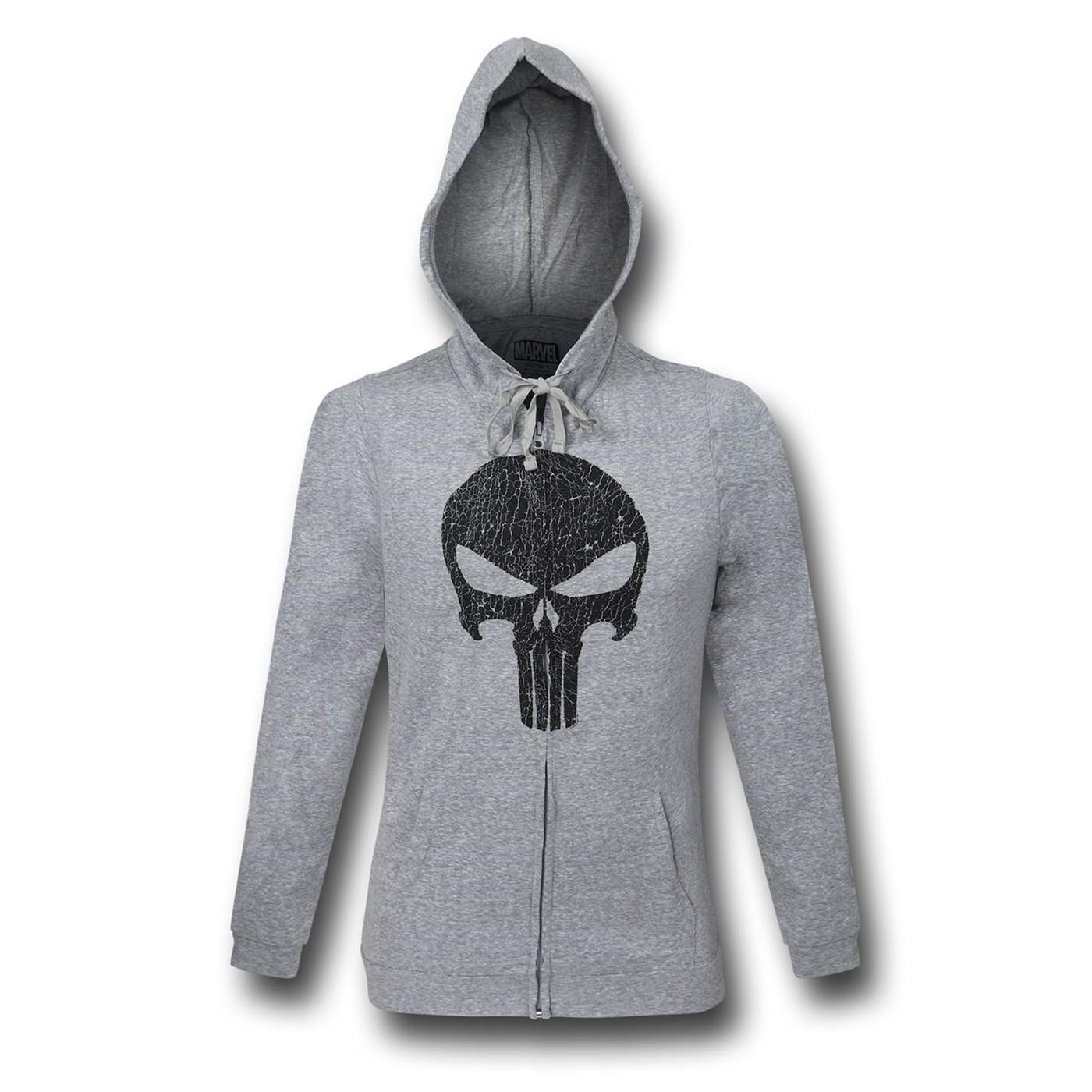 Punisher Cracked Skull Symbol Light Zipper Hoodie