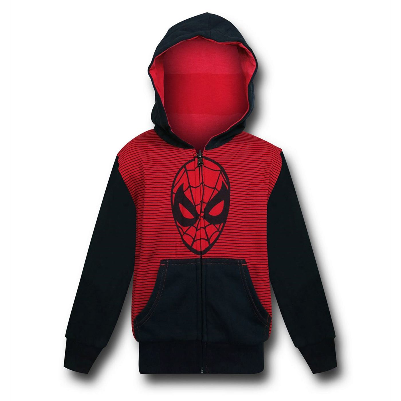 Spider-Man Face Red and Black Kids Reversible Hoodie