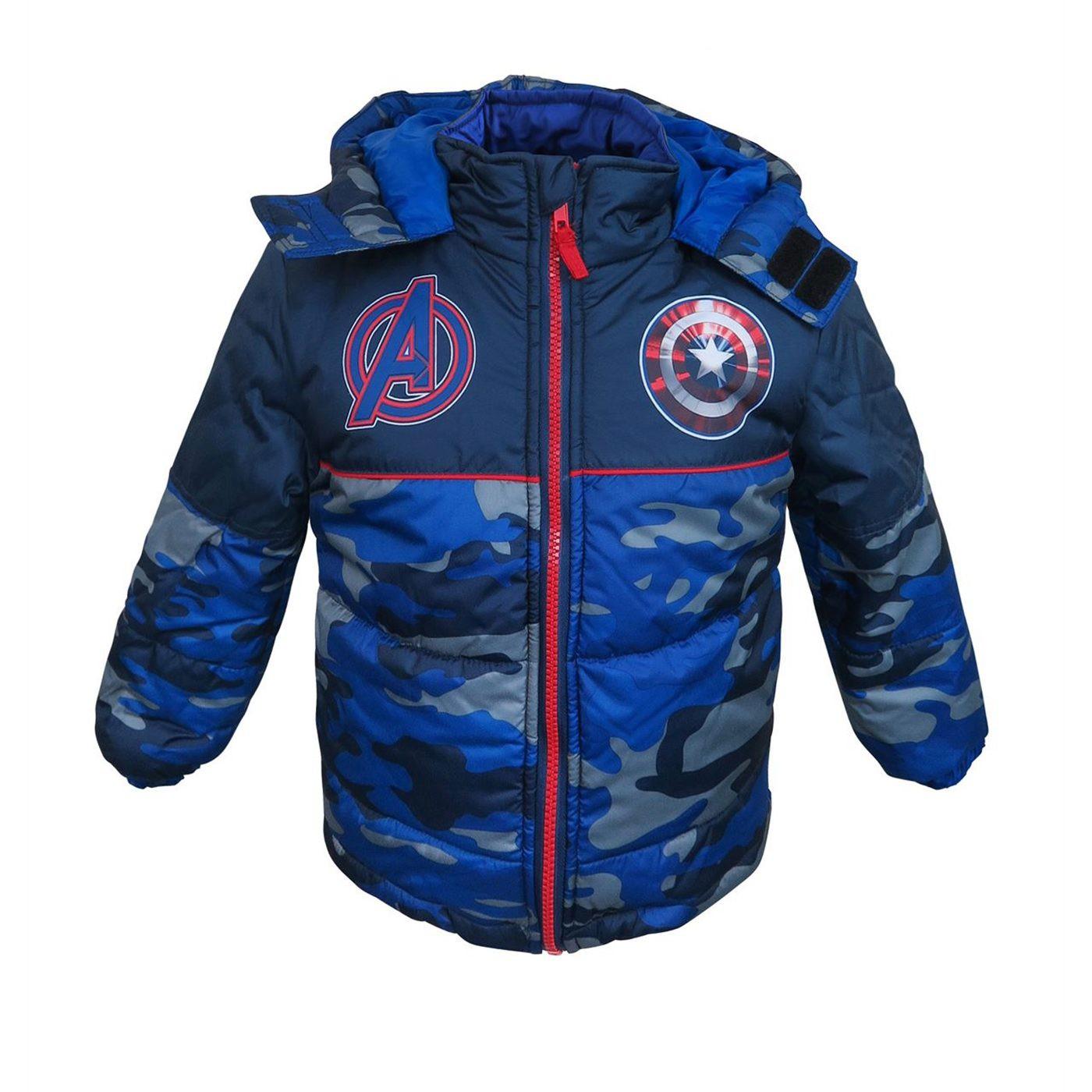 Captain America Shield Kids Puffer Jacket