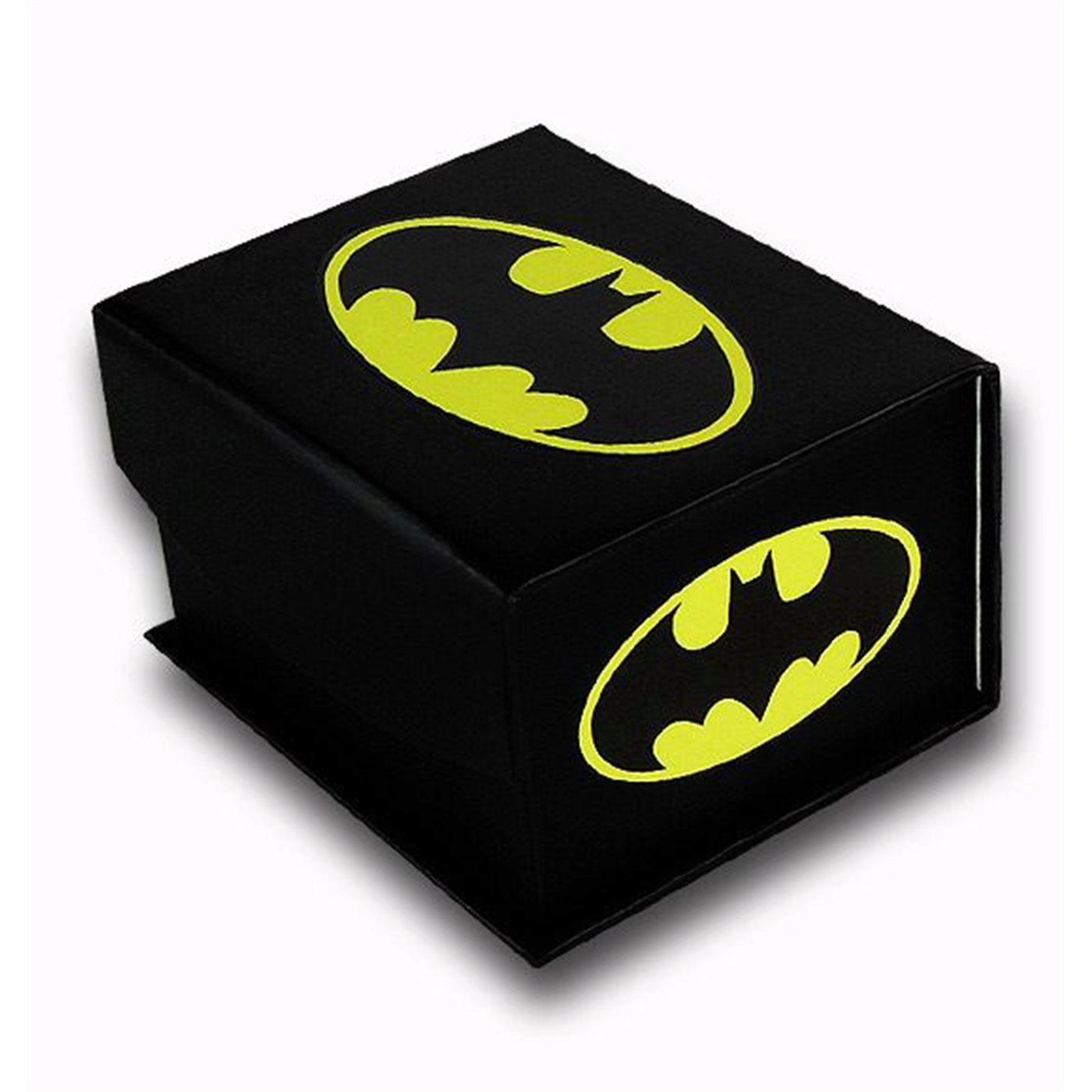 Batman Symbol Silver Symbol Oval Cufflinks