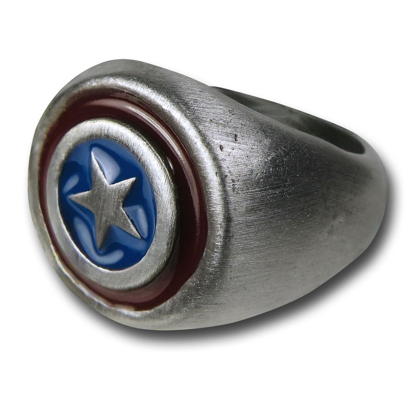 Captain America Brushed Nickel Ring