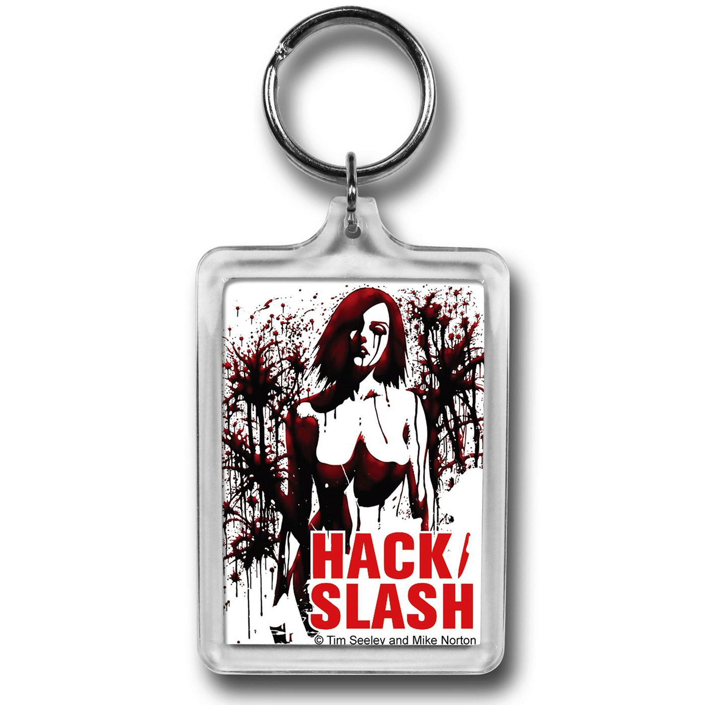 Hack Slash Splatter Lucite Keychain