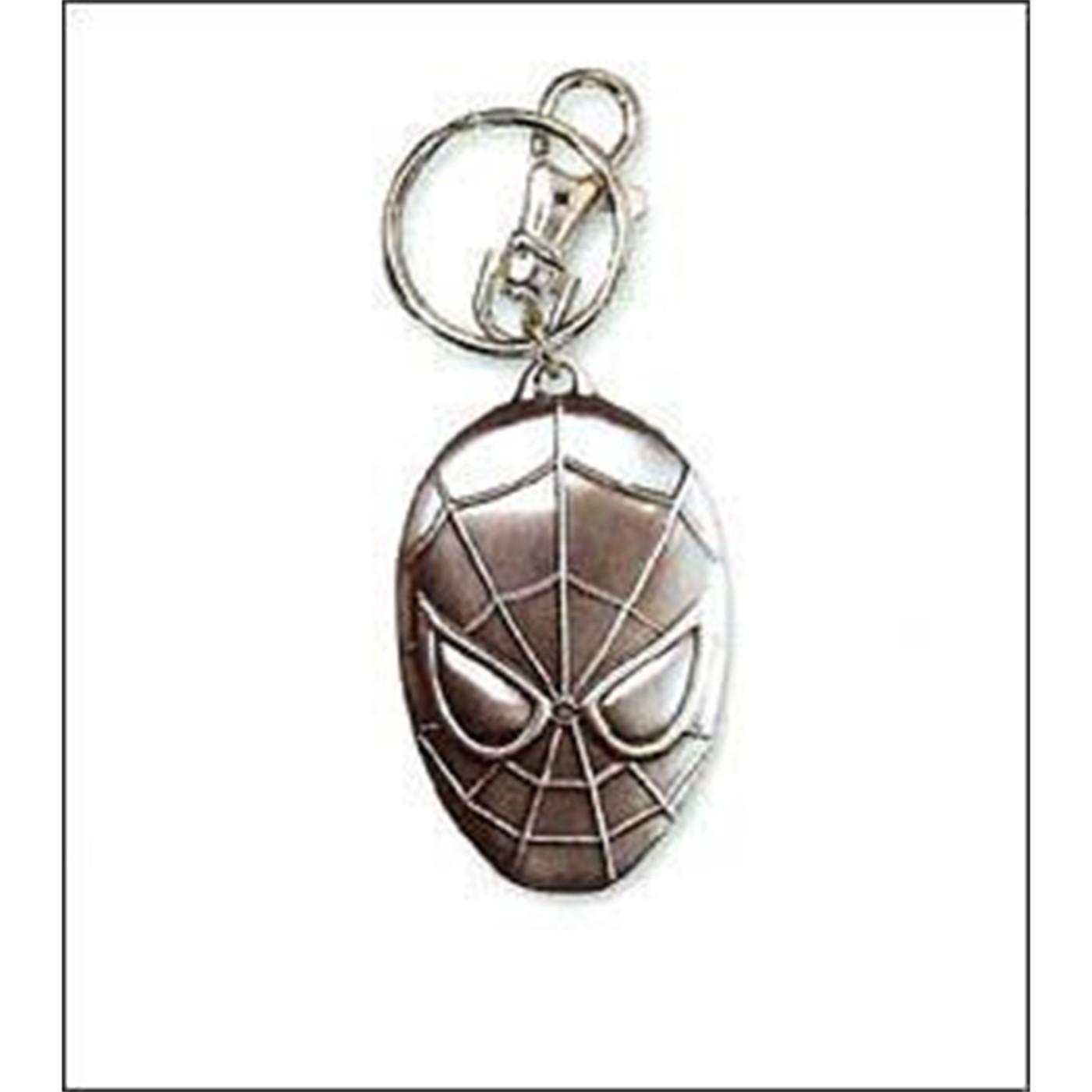 Spider-Man Head Pewter Keychain