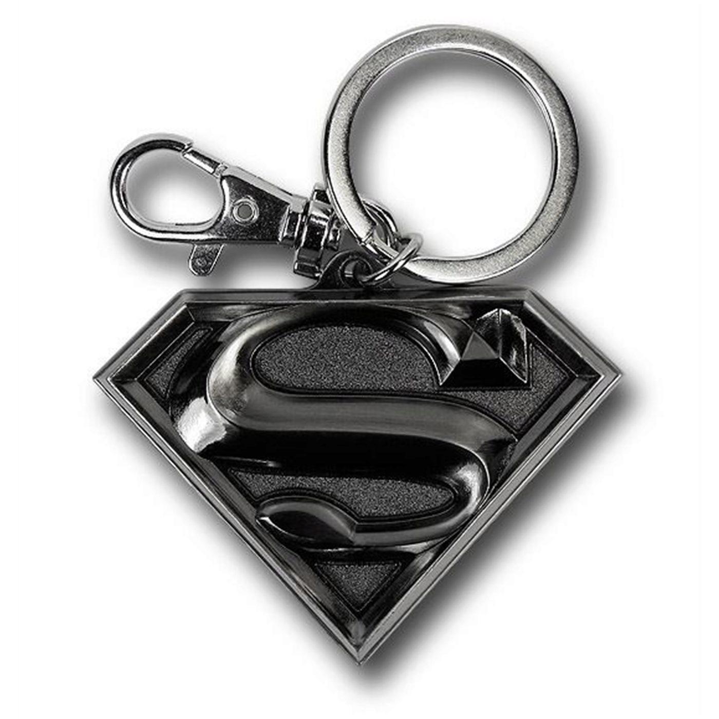 Superman Silver Symbol Pewter Keychain