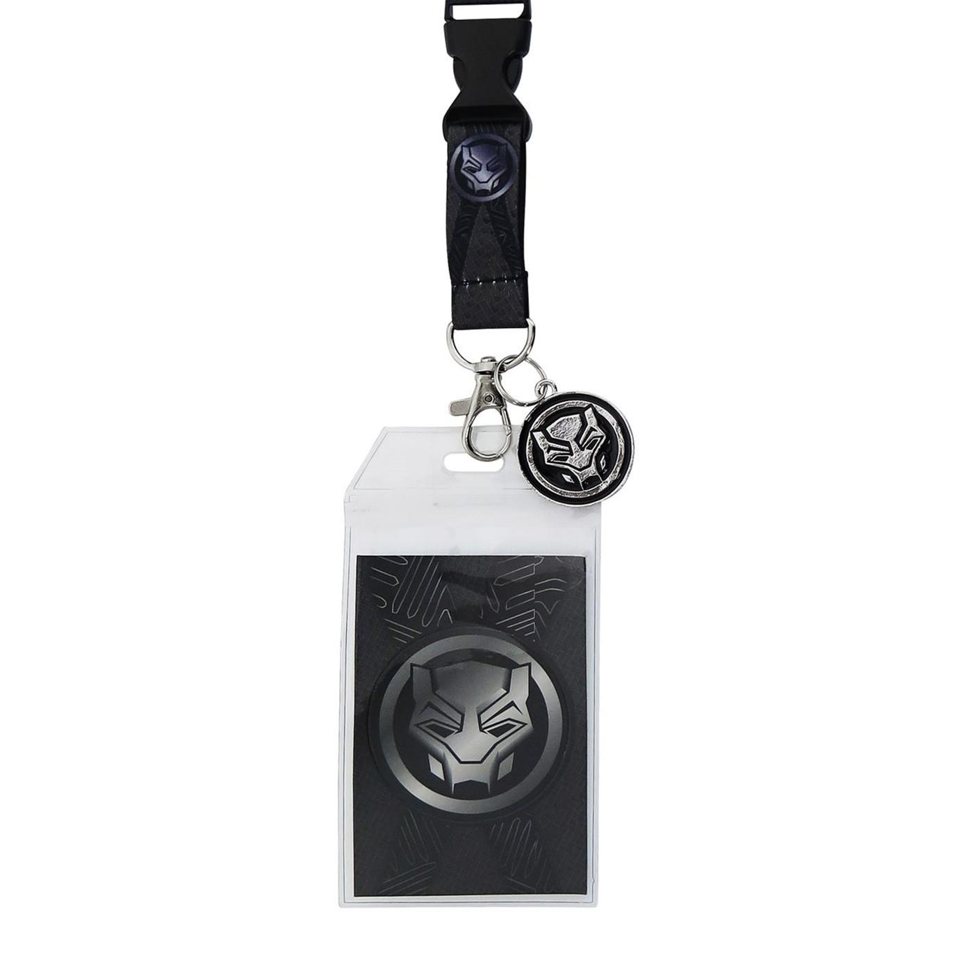 Black Panther Movie Symbol Lanyard with Charm